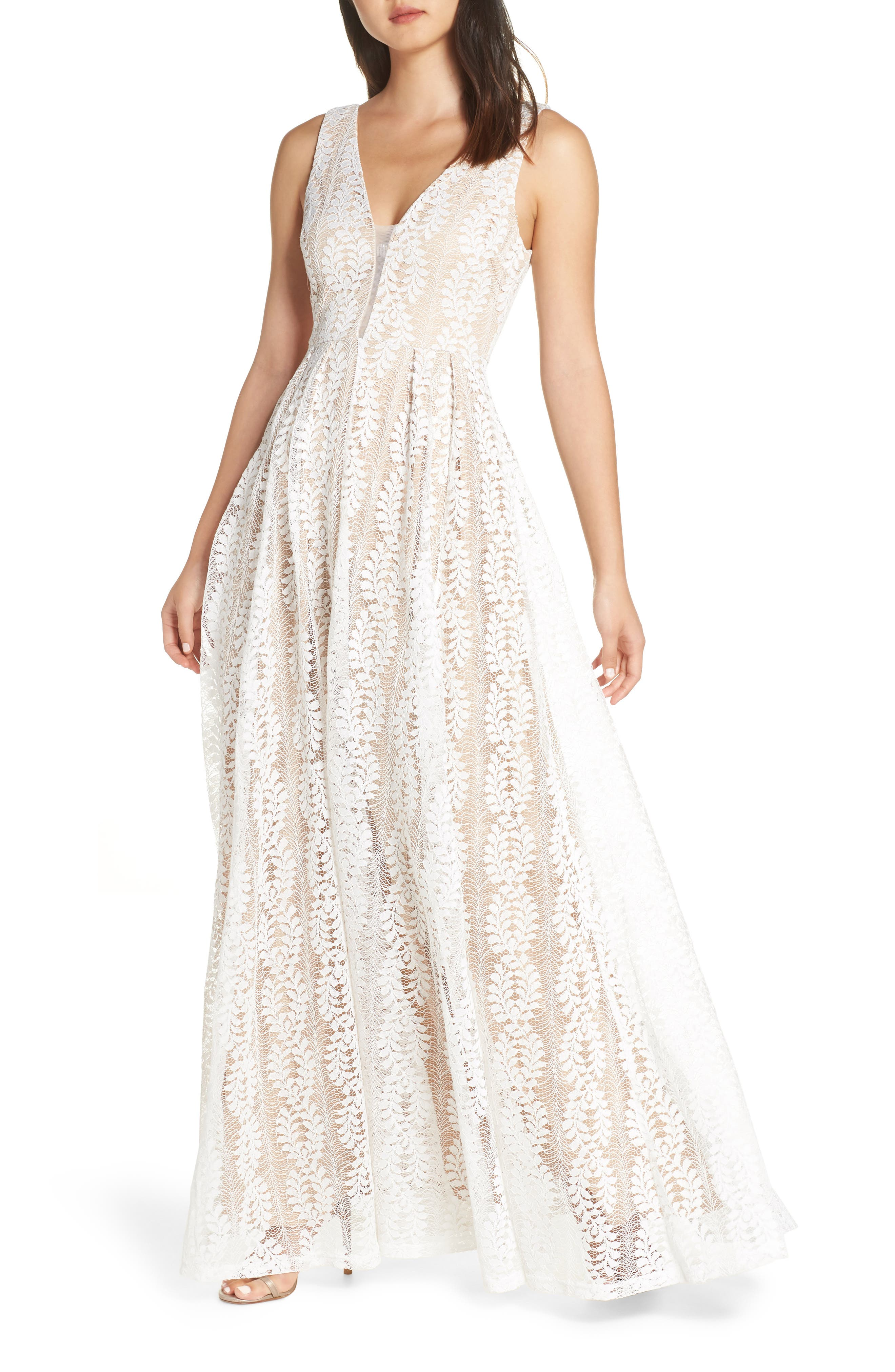 LULUS Eliana Lace V-Neck Gown, Main, color, WHITE/ NUDE