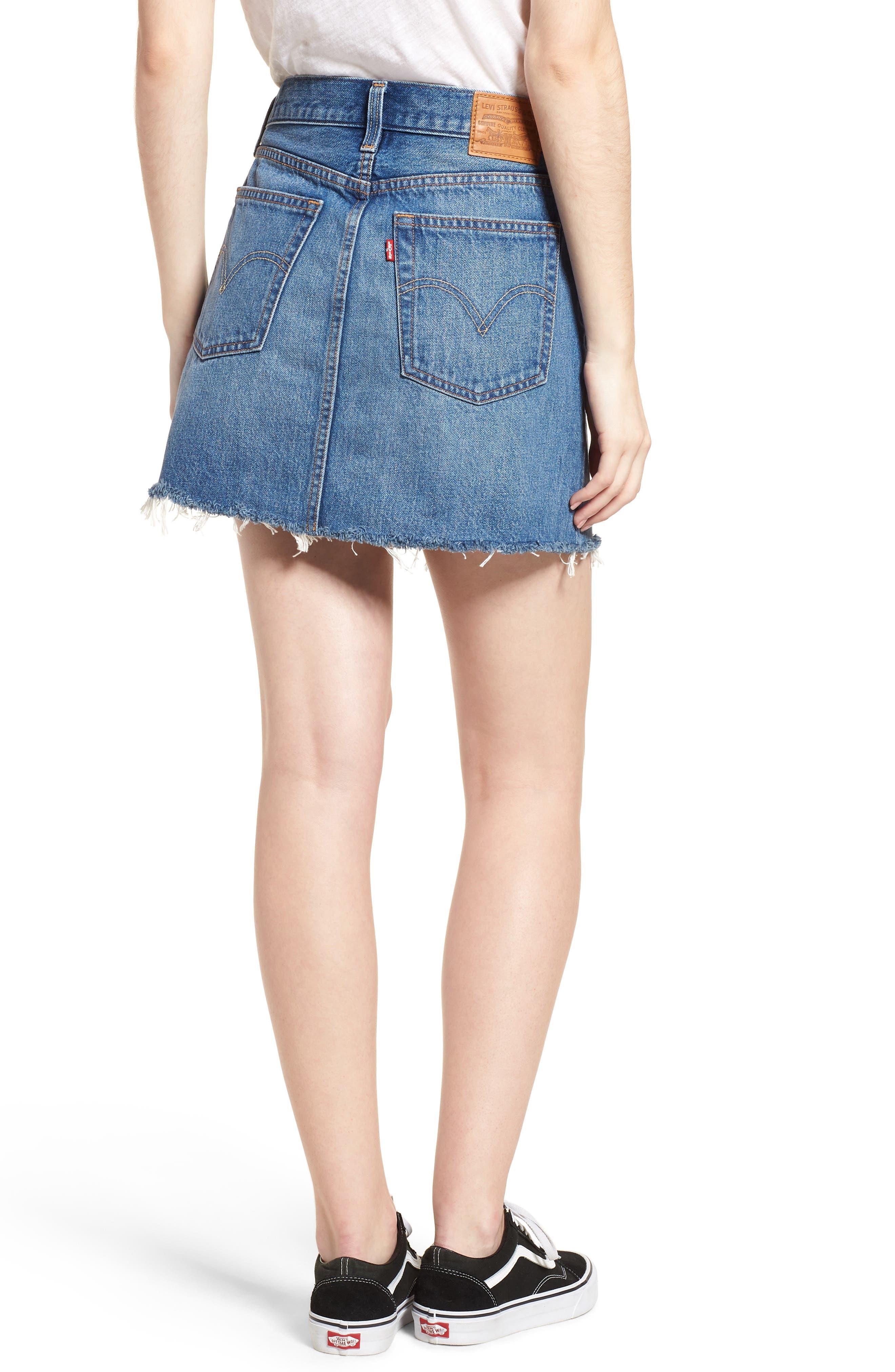 LEVI'S<SUP>®</SUP>, Deconstructed Denim Skirt, Alternate thumbnail 2, color, MIDDLE MAN