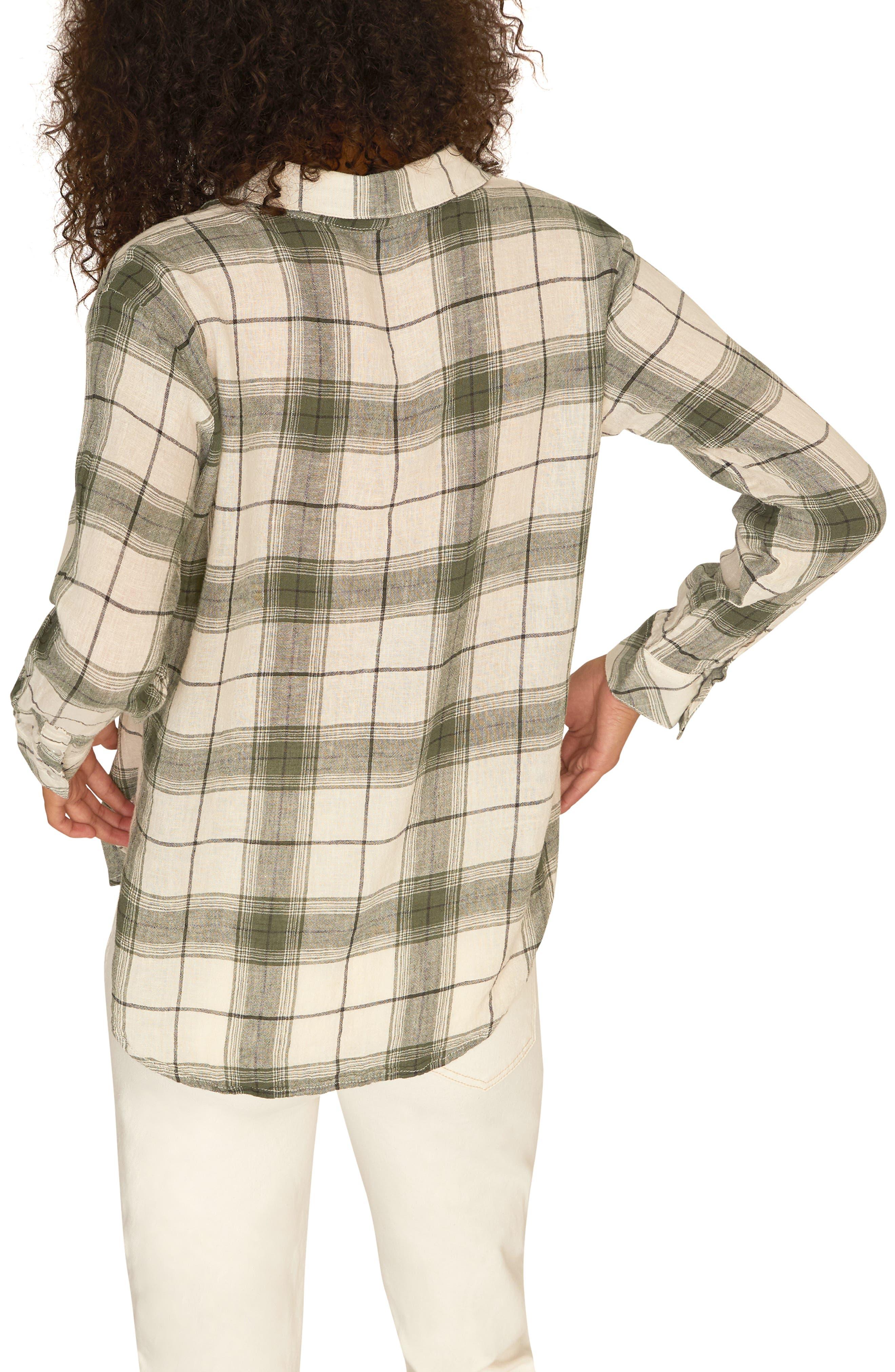 SANCTUARY, Favorite Boyfriend Shirt, Alternate thumbnail 2, color, NATURE PLAID