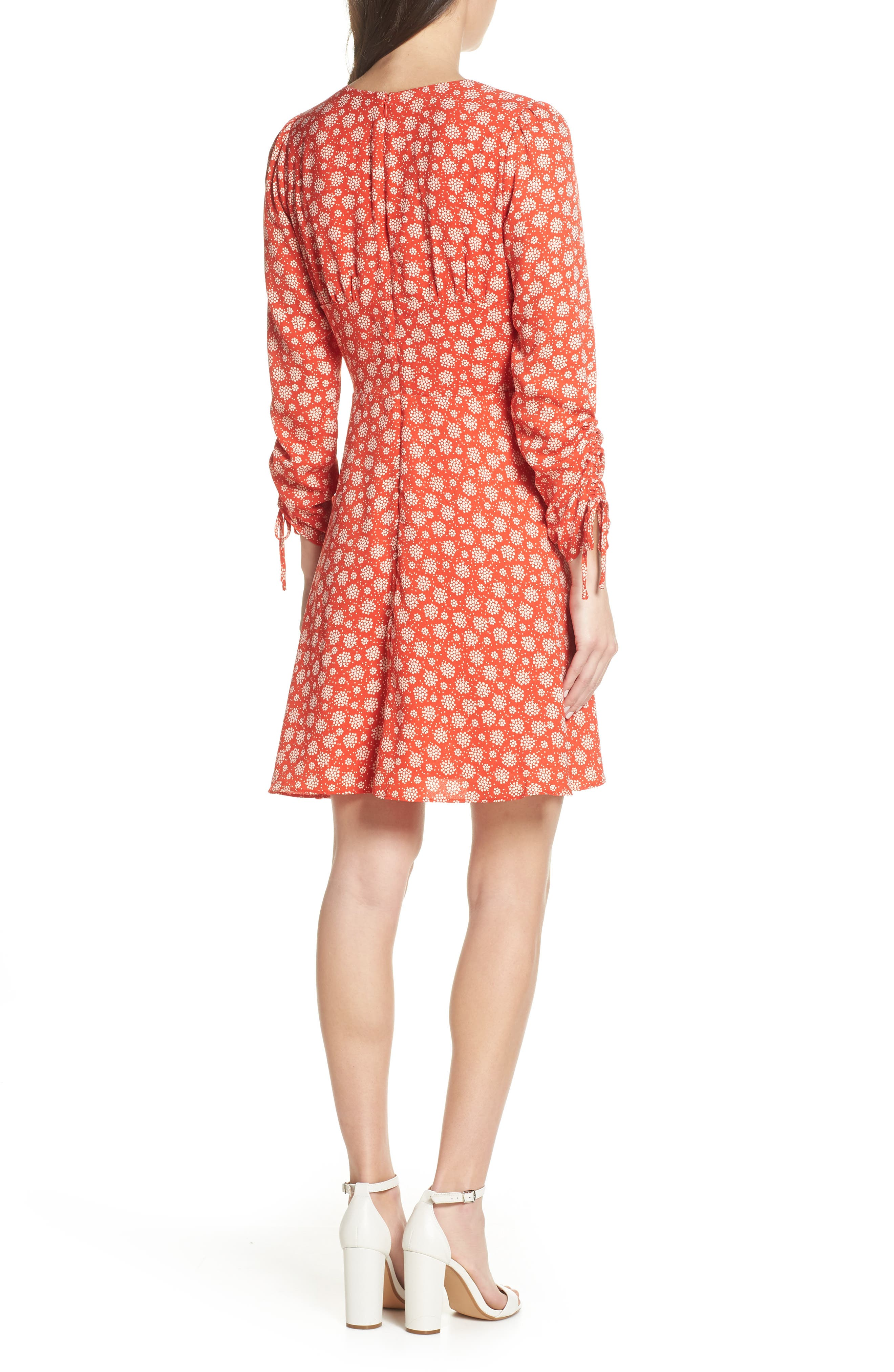 19 COOPER, Ruched Sleeve Fit & Flare Dress, Alternate thumbnail 2, color, 610