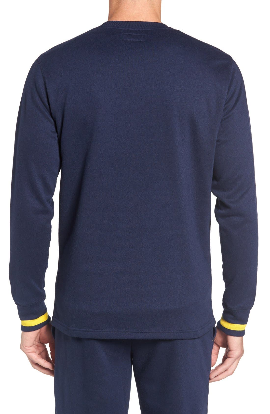POLO RALPH LAUREN, Brushed Jersey Cotton Blend Crewneck Sweatshirt, Alternate thumbnail 6, color, CRUISE NAVY