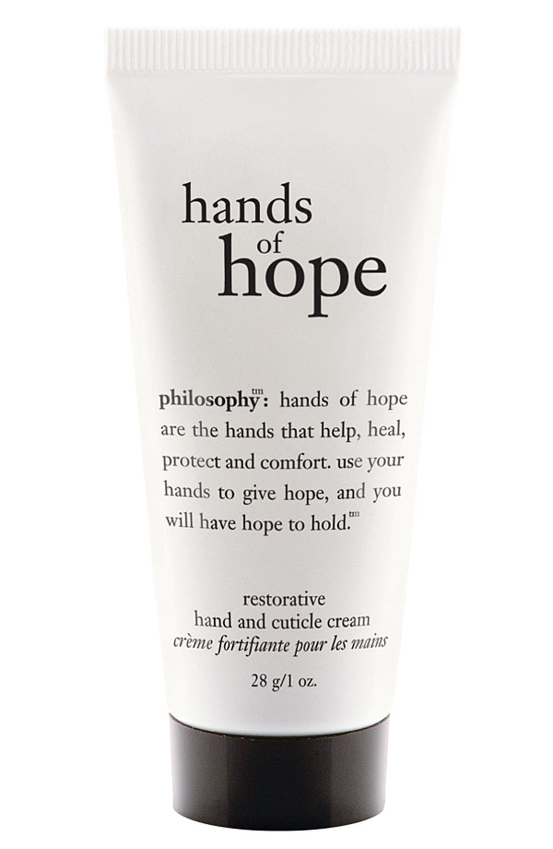 PHILOSOPHY, hands of hope hand & cuticle cream, Main thumbnail 1, color, NO COLOR