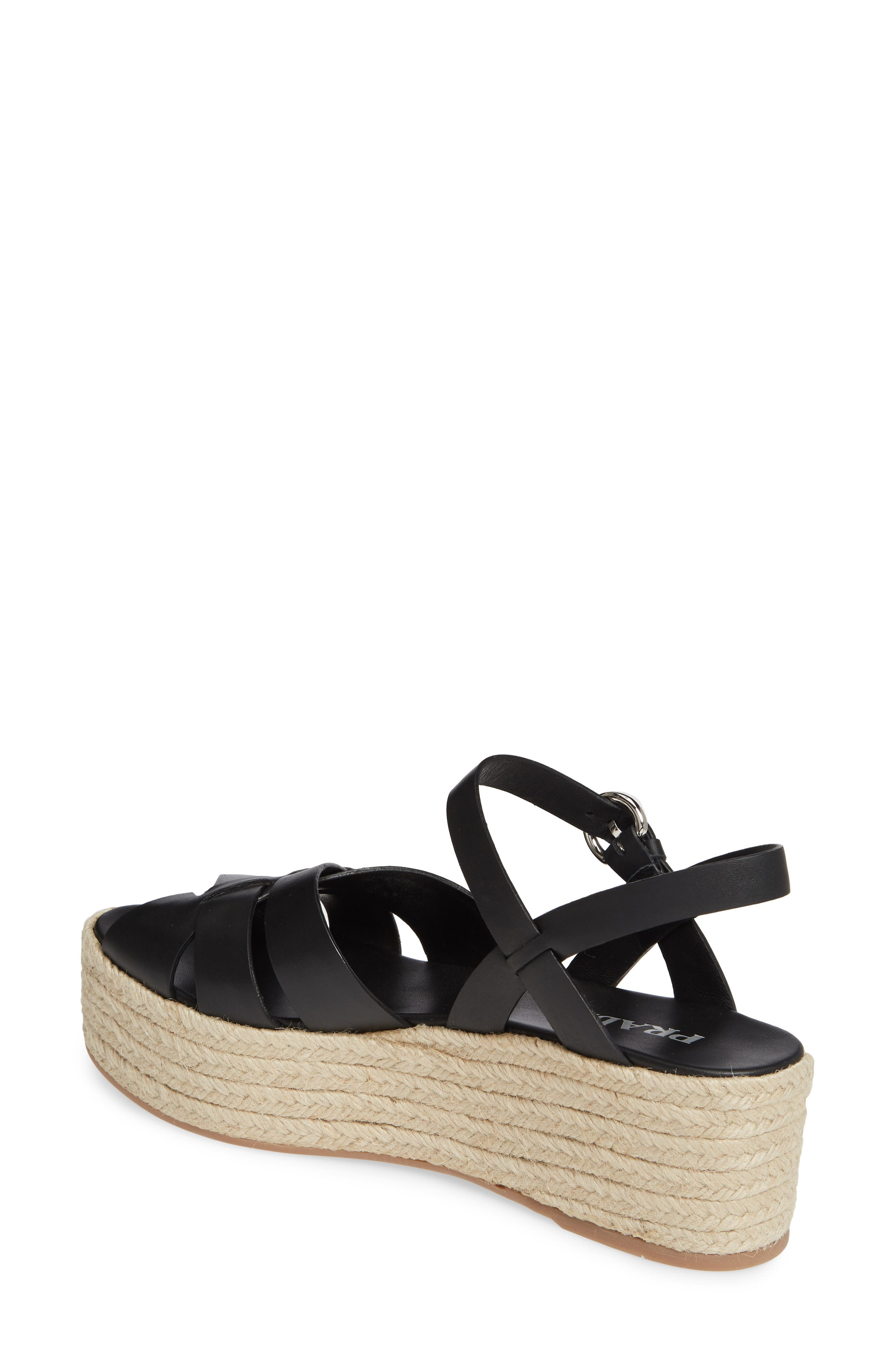 PRADA, Platform Espadrille Sandal, Alternate thumbnail 2, color, BLACK