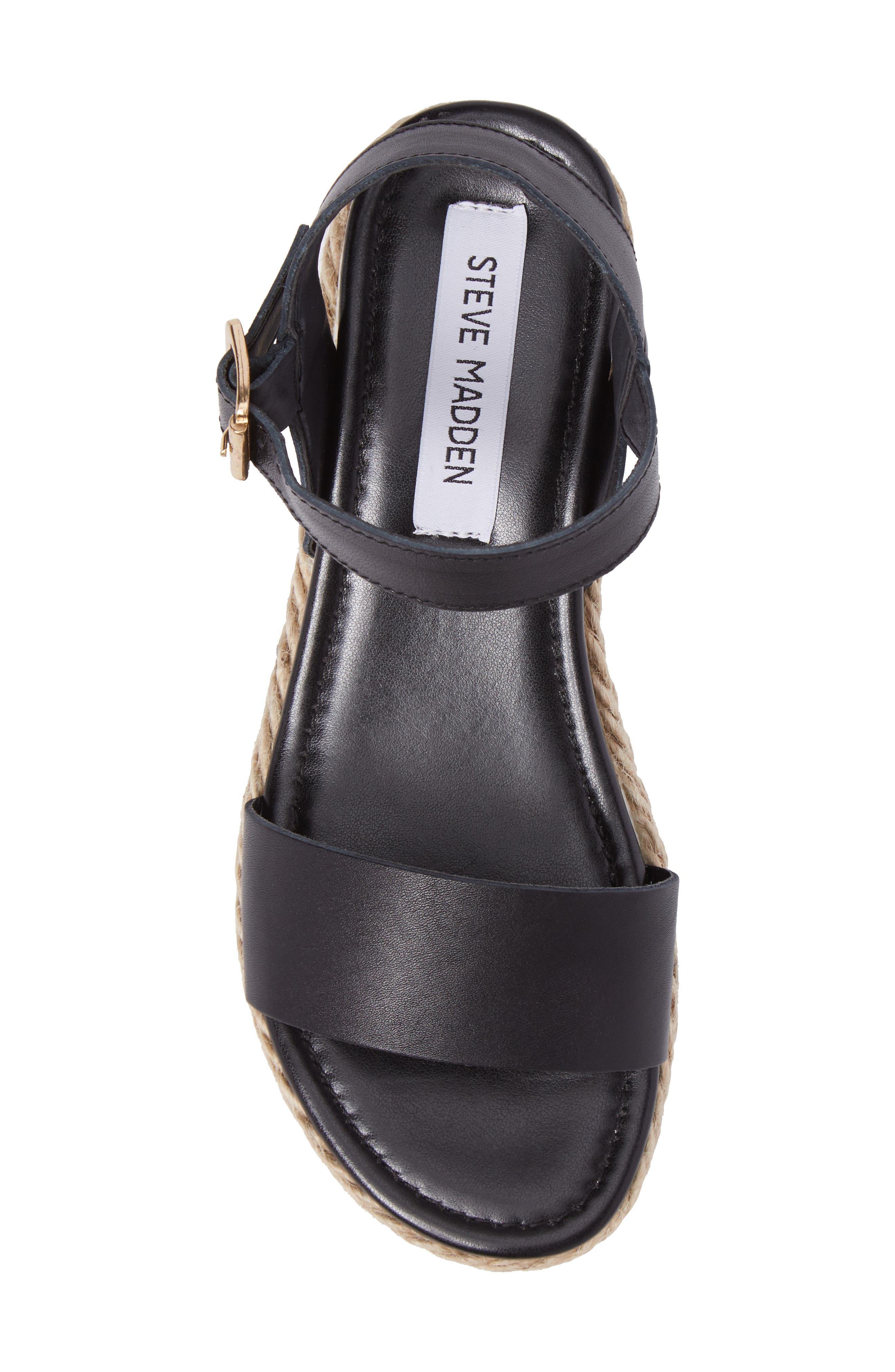 STEVE MADDEN, Chiara Platform Espadrille Sandal, Alternate thumbnail 5, color, BLACK LEATHER