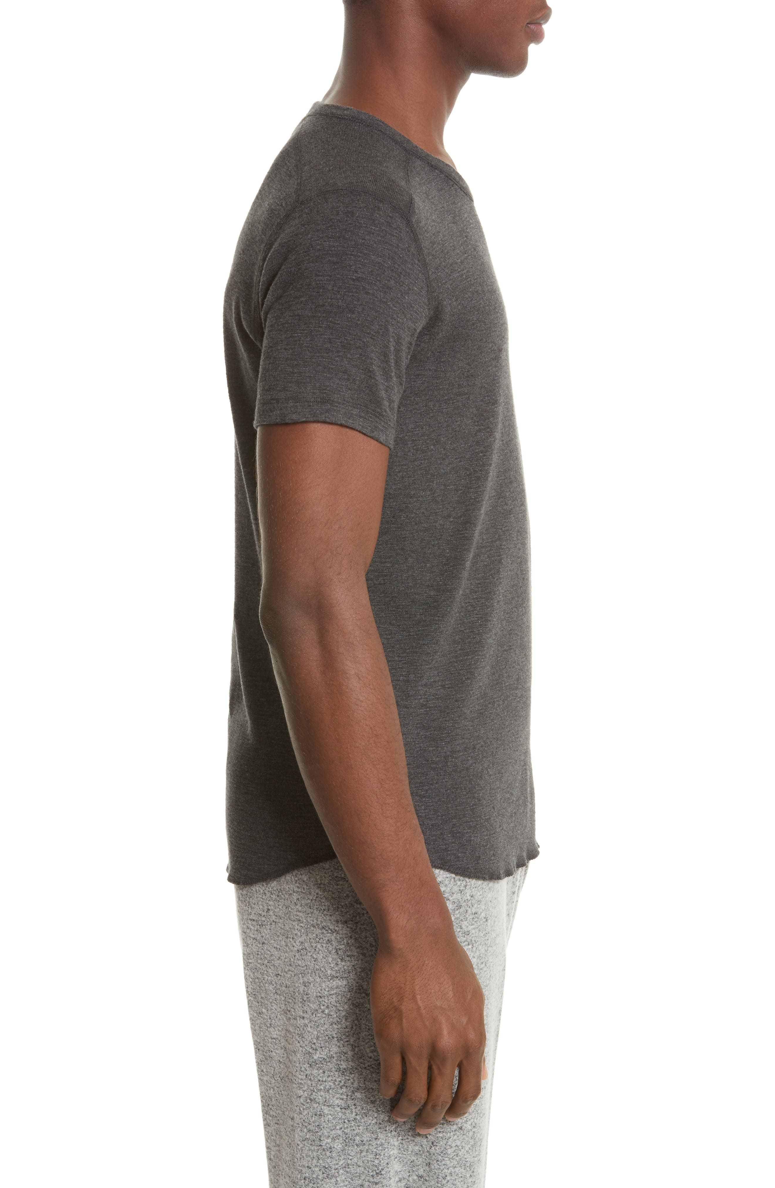 WINGS + HORNS, Ribbed Slub Cotton T-Shirt, Alternate thumbnail 3, color, HEATHER CHARCOAL