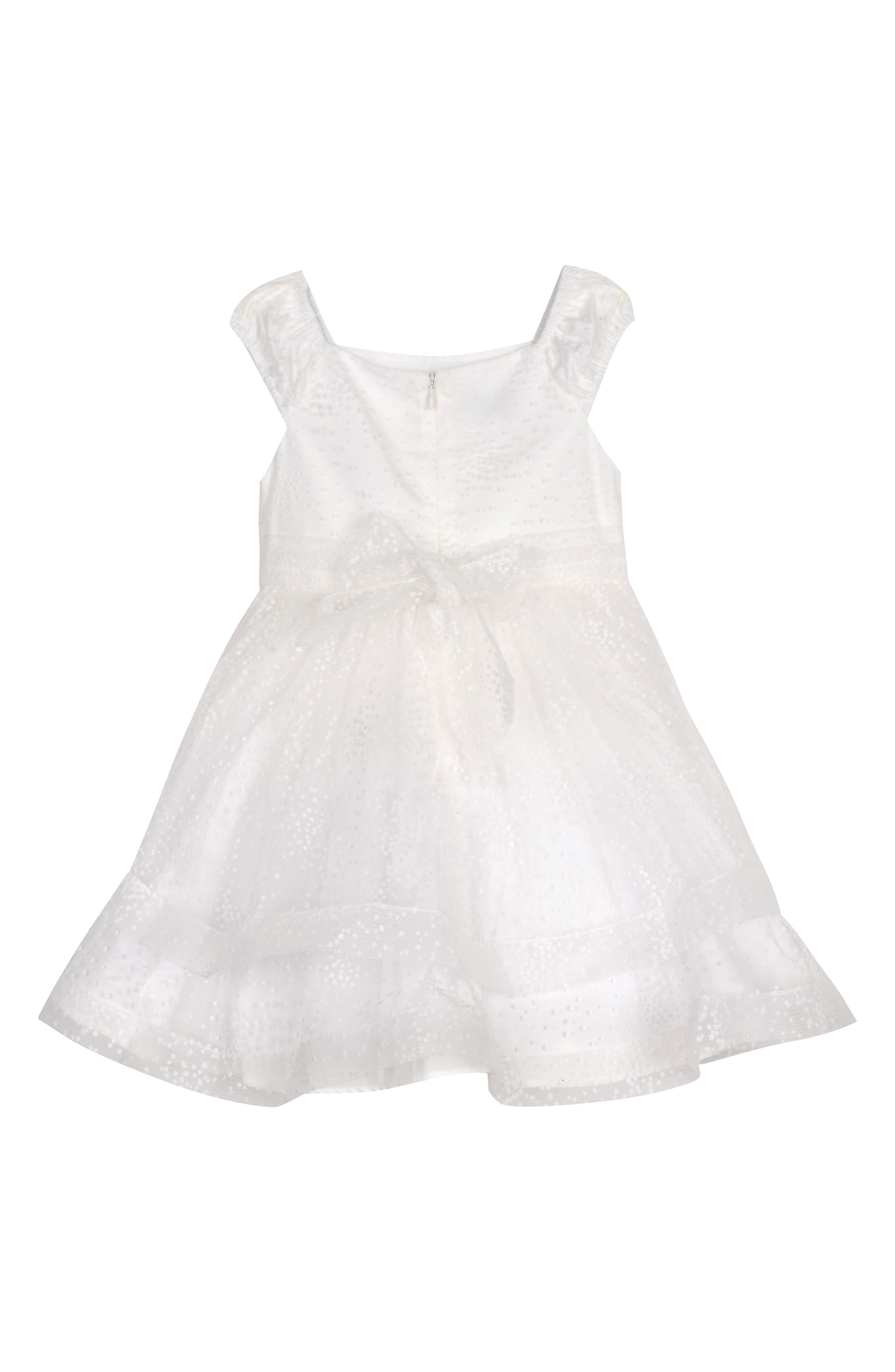 PIPPA & JULIE, Dot Texture Flower Girl Dress, Alternate thumbnail 2, color, WHITE