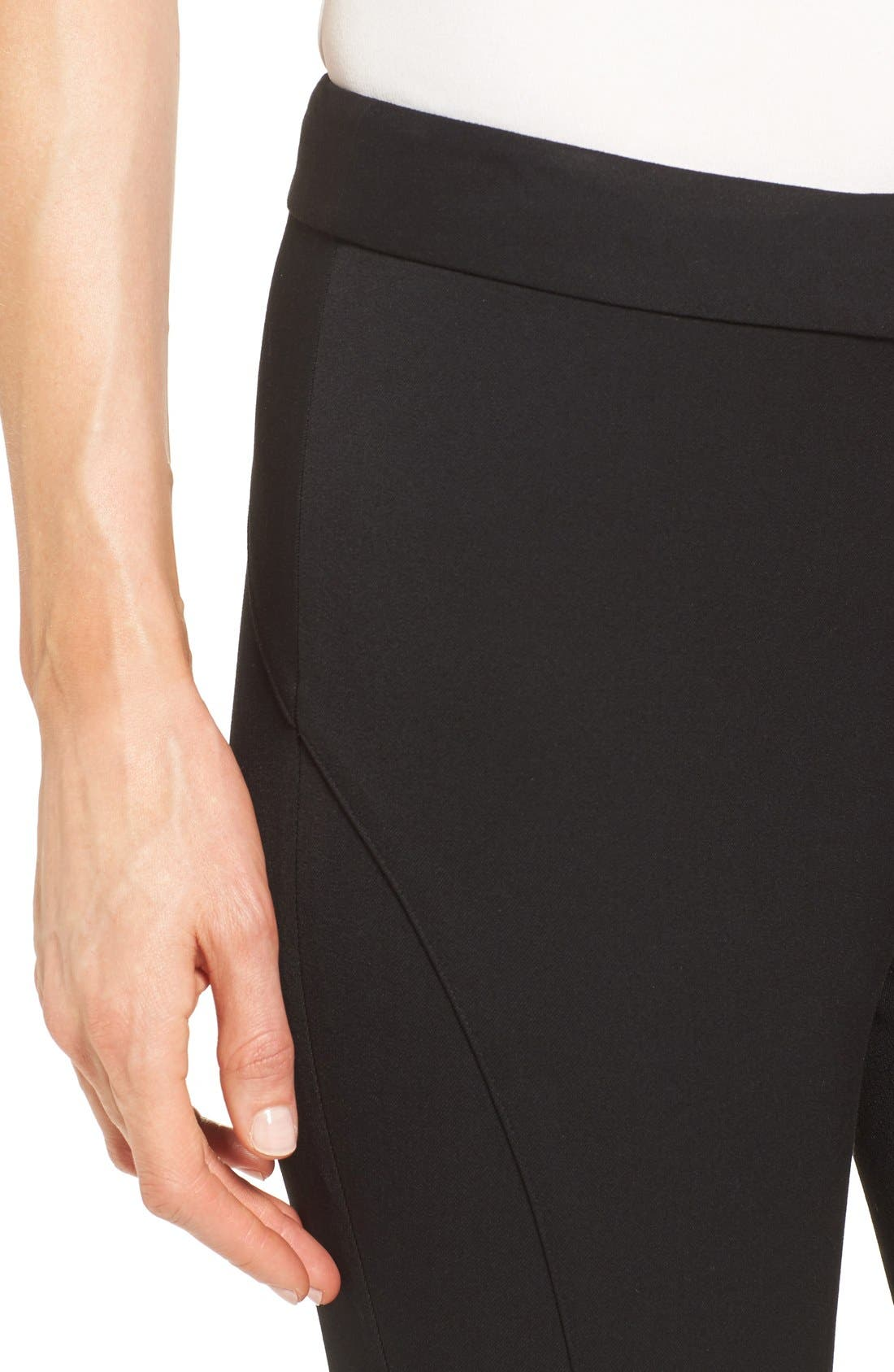 VINCE CAMUTO, Stretch Twill Skinny Pants, Alternate thumbnail 4, color, RICH BLACK