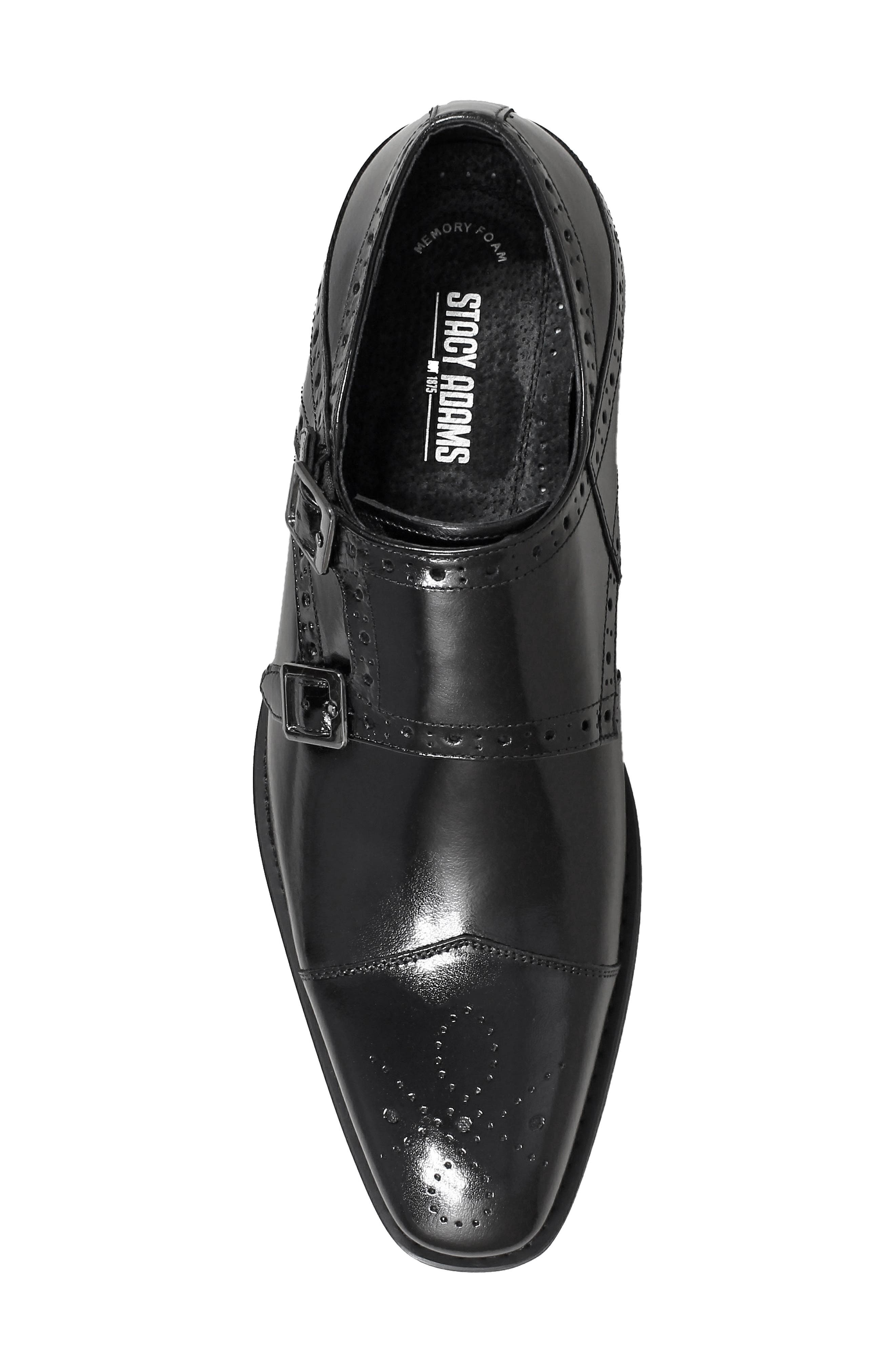 STACY ADAMS, Tayton Cap Toe Double Strap Monk Shoe, Alternate thumbnail 5, color, BLACK LEATHER