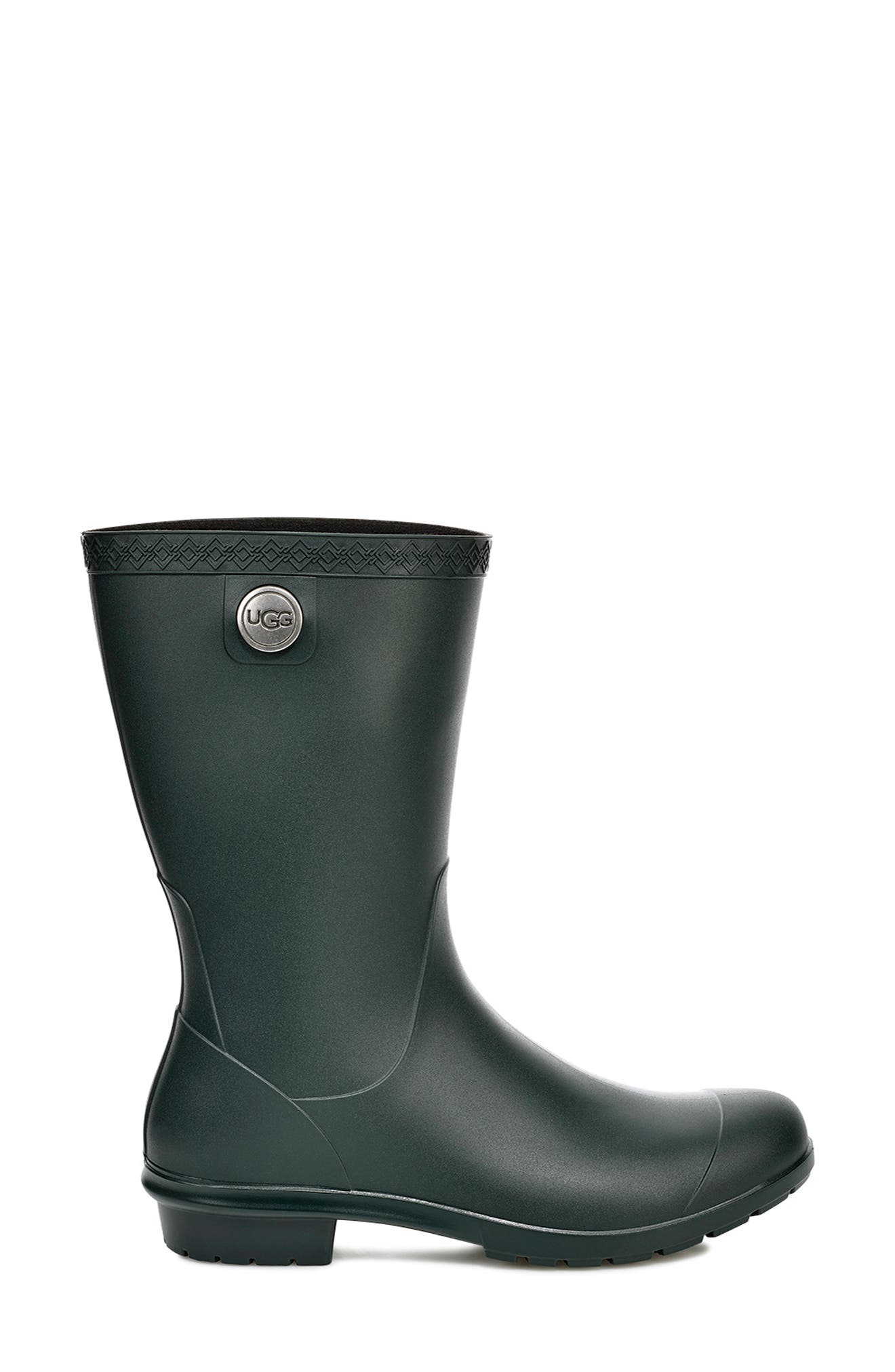 UGG<SUP>®</SUP>, Sienna Rain Boot, Alternate thumbnail 3, color, OLIVE RUBBER