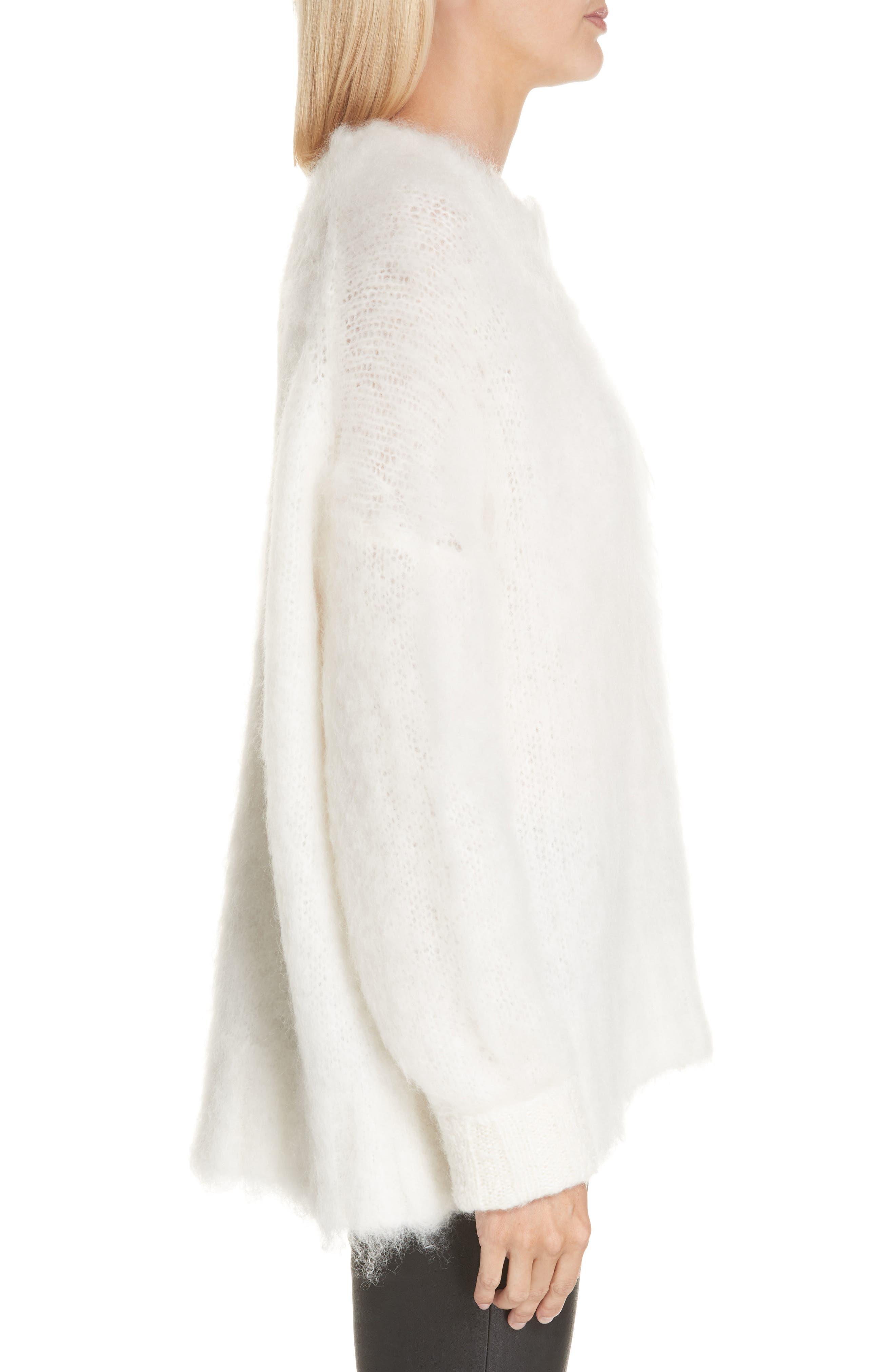 HELMUT LANG, Mohair Blend Sweater, Alternate thumbnail 3, color, NATURAL WHITE