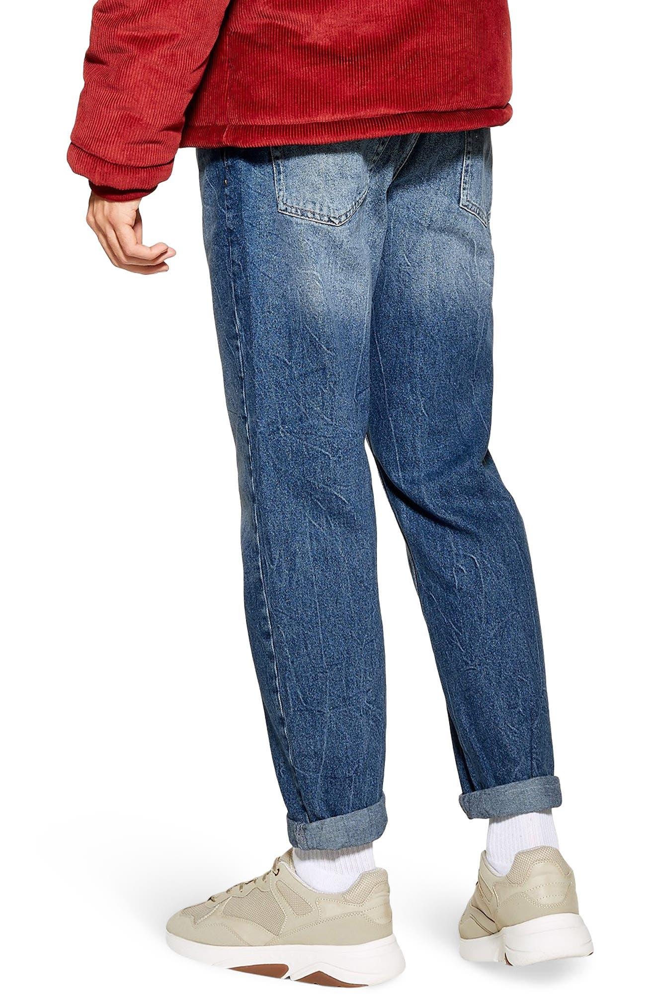TOPMAN, Billy Original Fit Jeans, Alternate thumbnail 2, color, BLUE