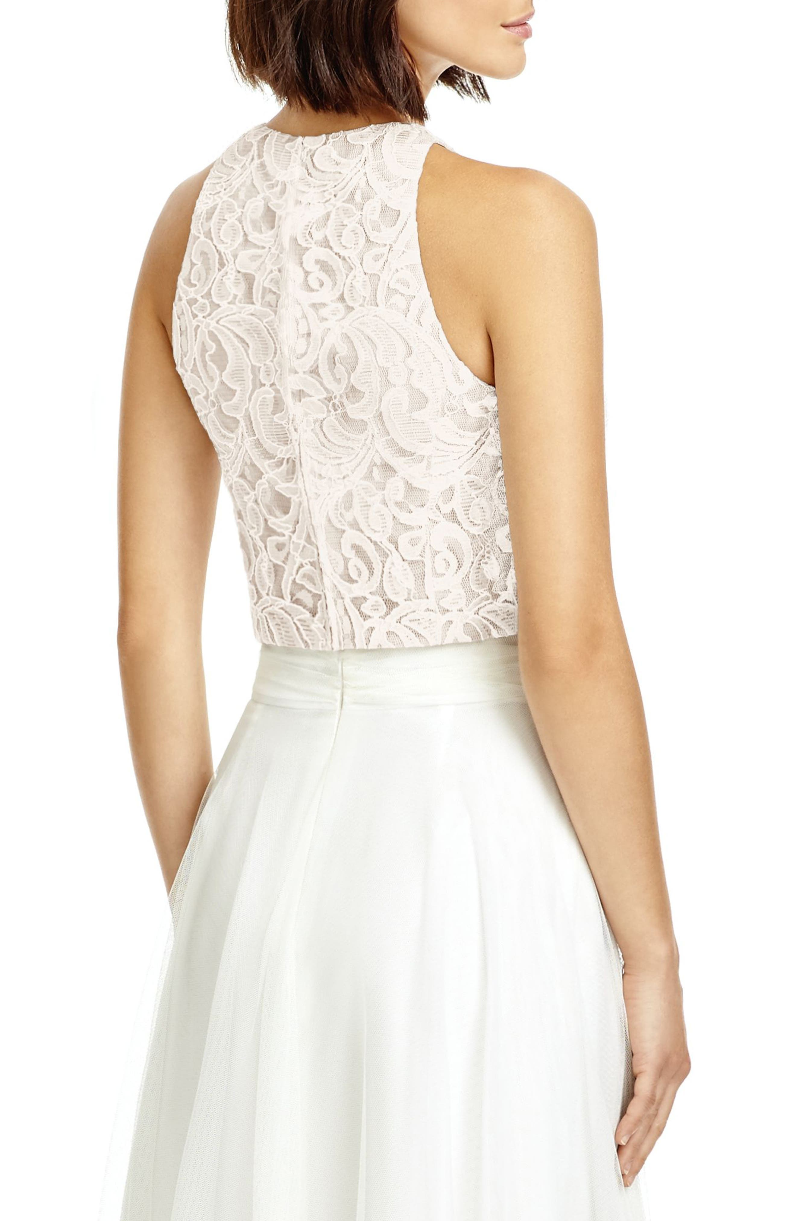 DESSY COLLECTION, Lace Halter Style Crop Top, Alternate thumbnail 2, color, IVORY LACE/ TOPAZ/ IVORY