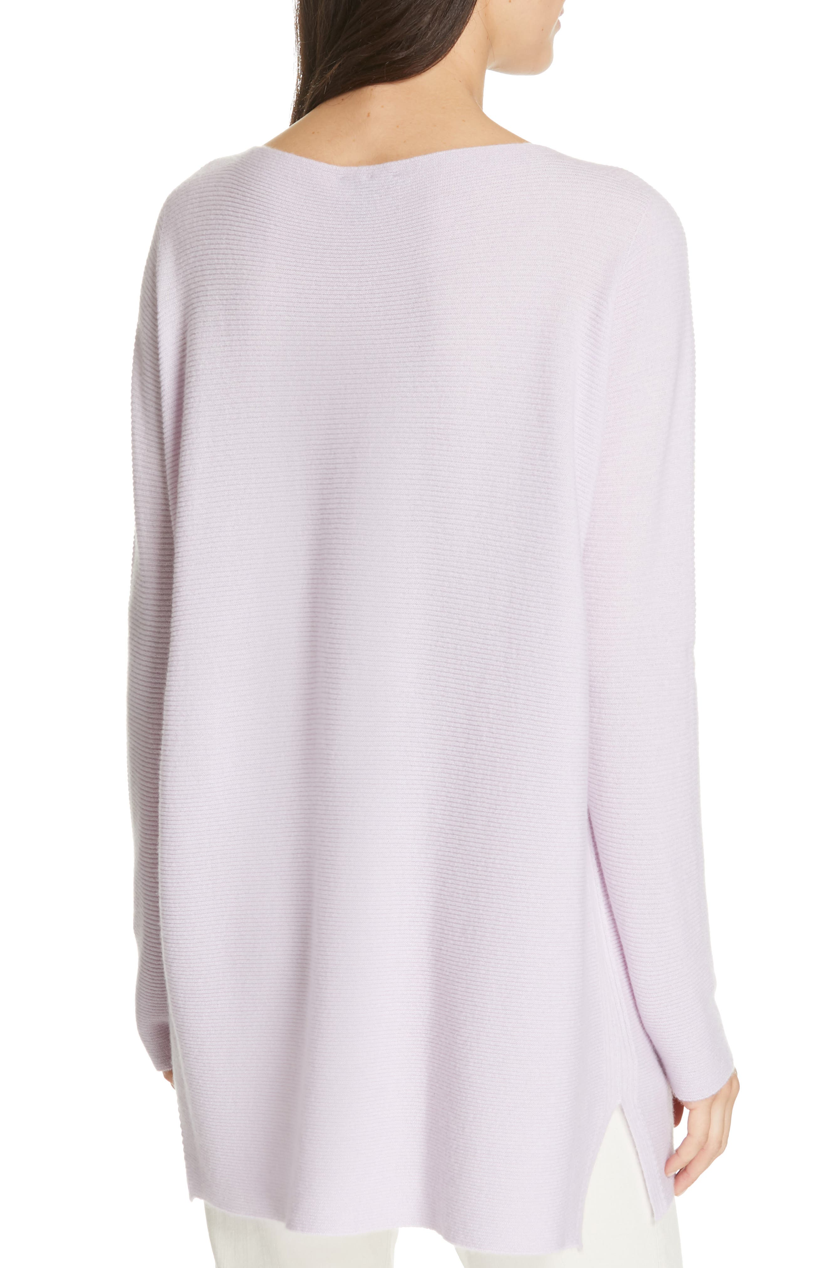EILEEN FISHER, Bateau Neck Cashmere Tunic Sweater, Alternate thumbnail 2, color, MALLOW