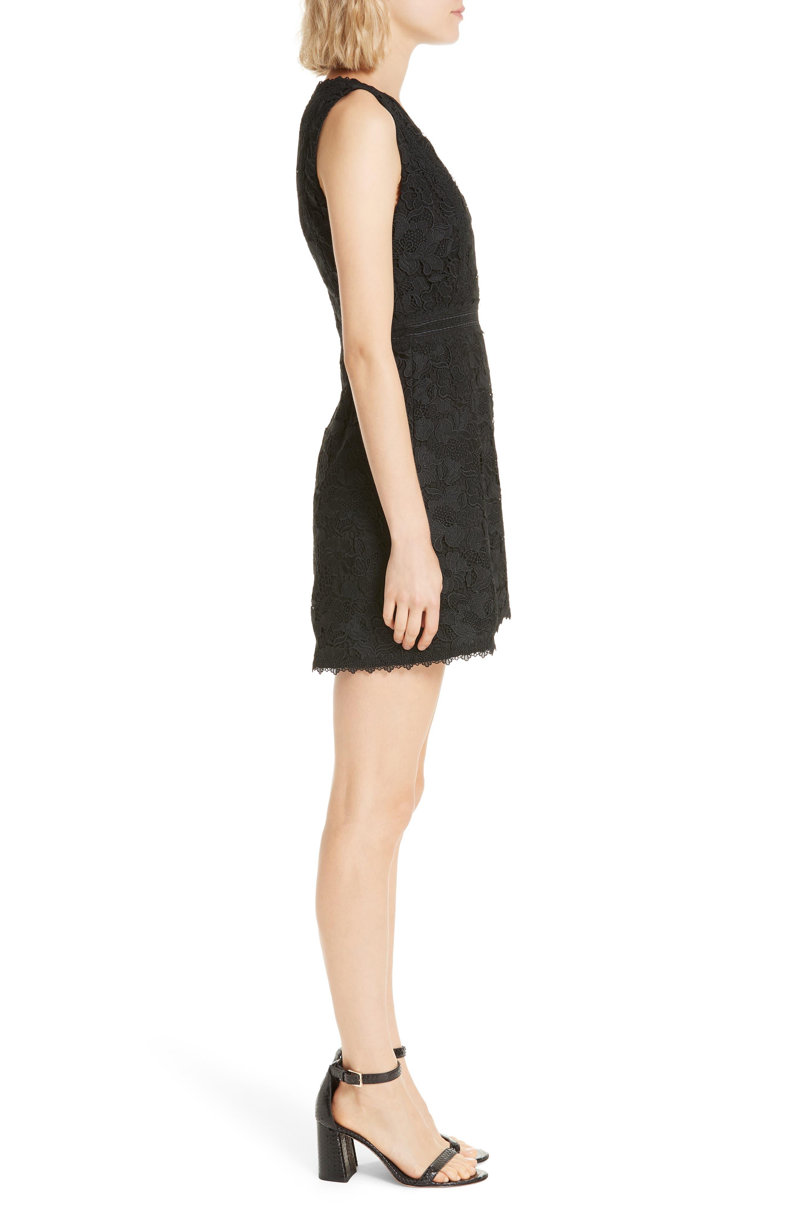 ALICE + OLIVIA, Lennon Lace Mini Dress, Alternate thumbnail 4, color, 001