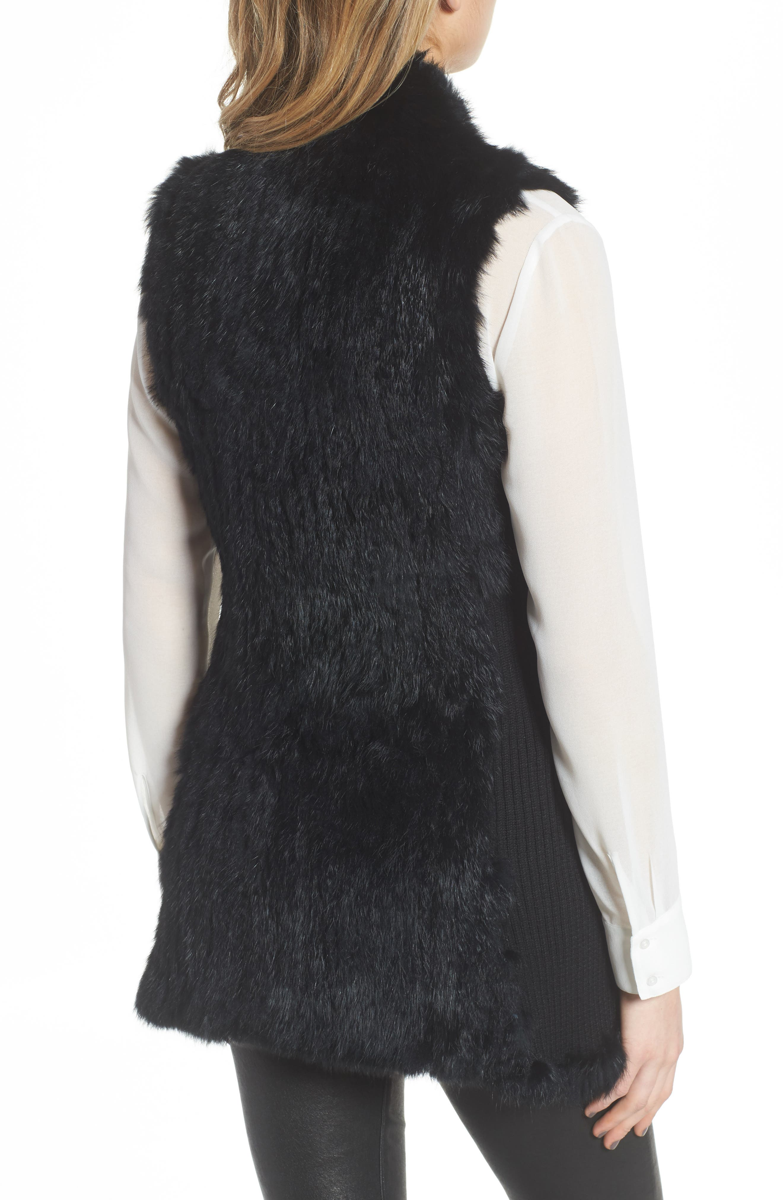 LOVE TOKEN, Genuine Rabbit Fur & Knit Vest, Alternate thumbnail 2, color, 001