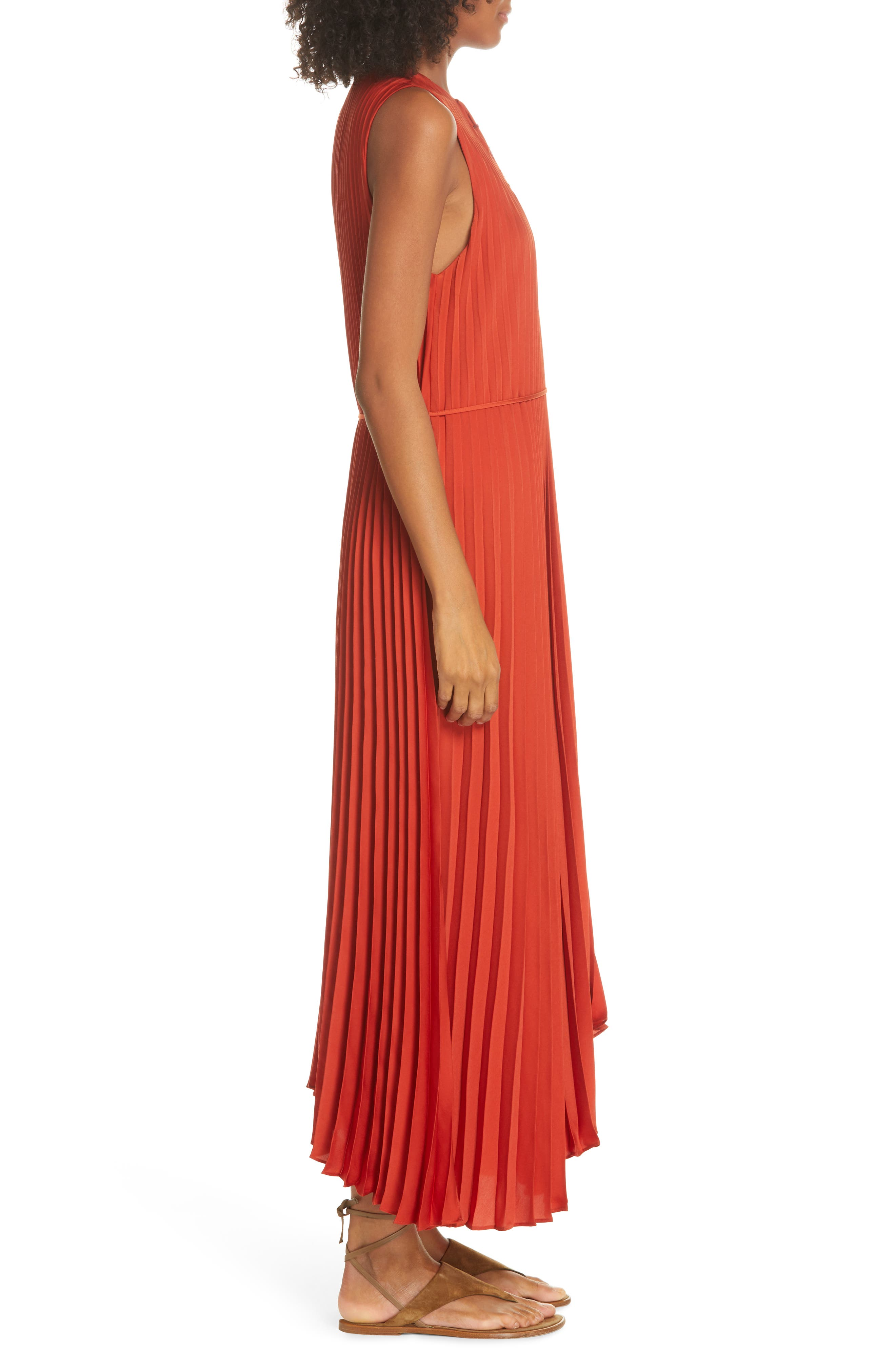 VINCE, Smocked Maxi Dress, Alternate thumbnail 4, color, ADOBE RED