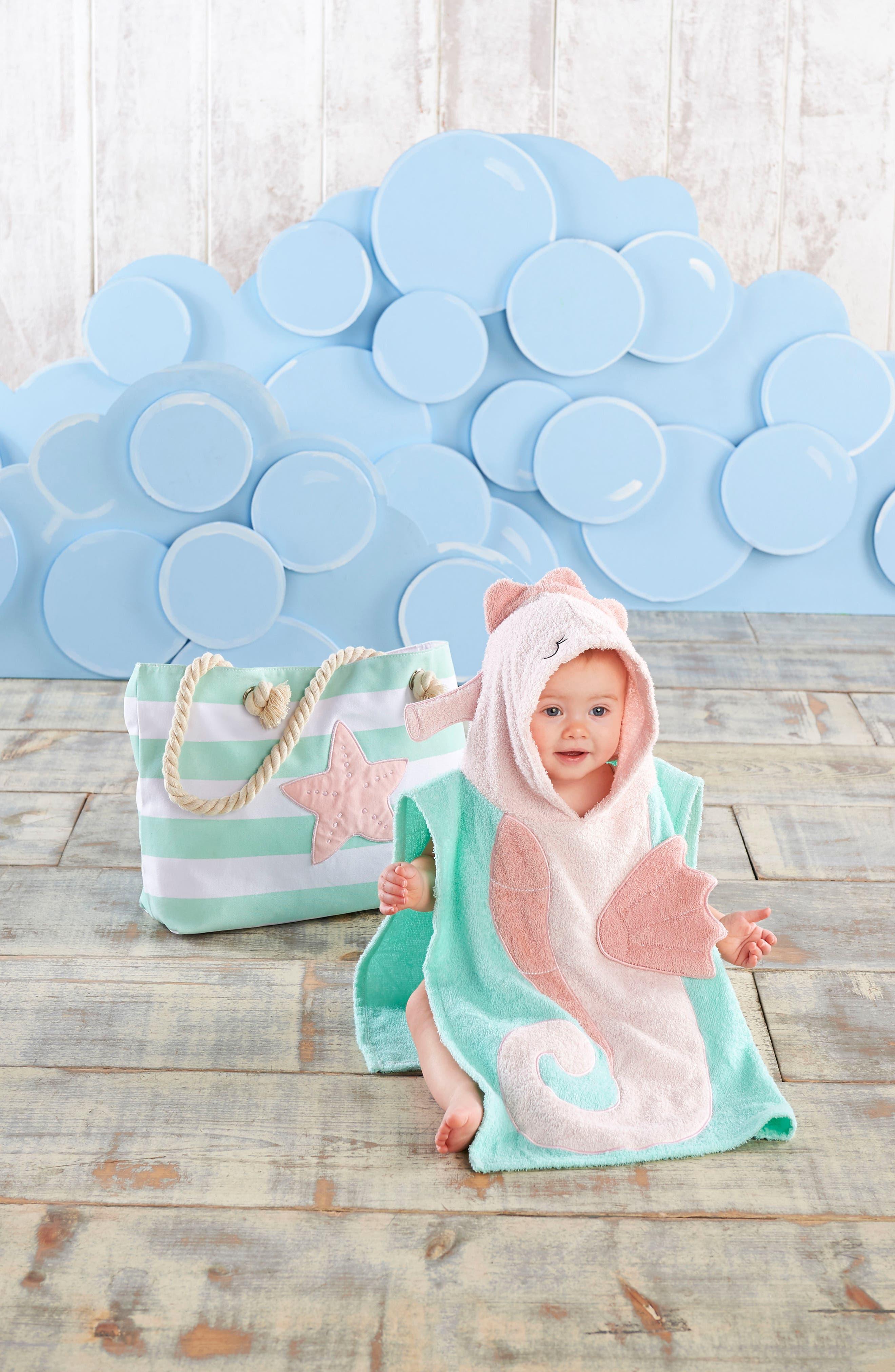 BABY ASPEN, Seahorse Hooded Towel, Swimsuit, Sun Hat & Tote Set, Alternate thumbnail 3, color, 690