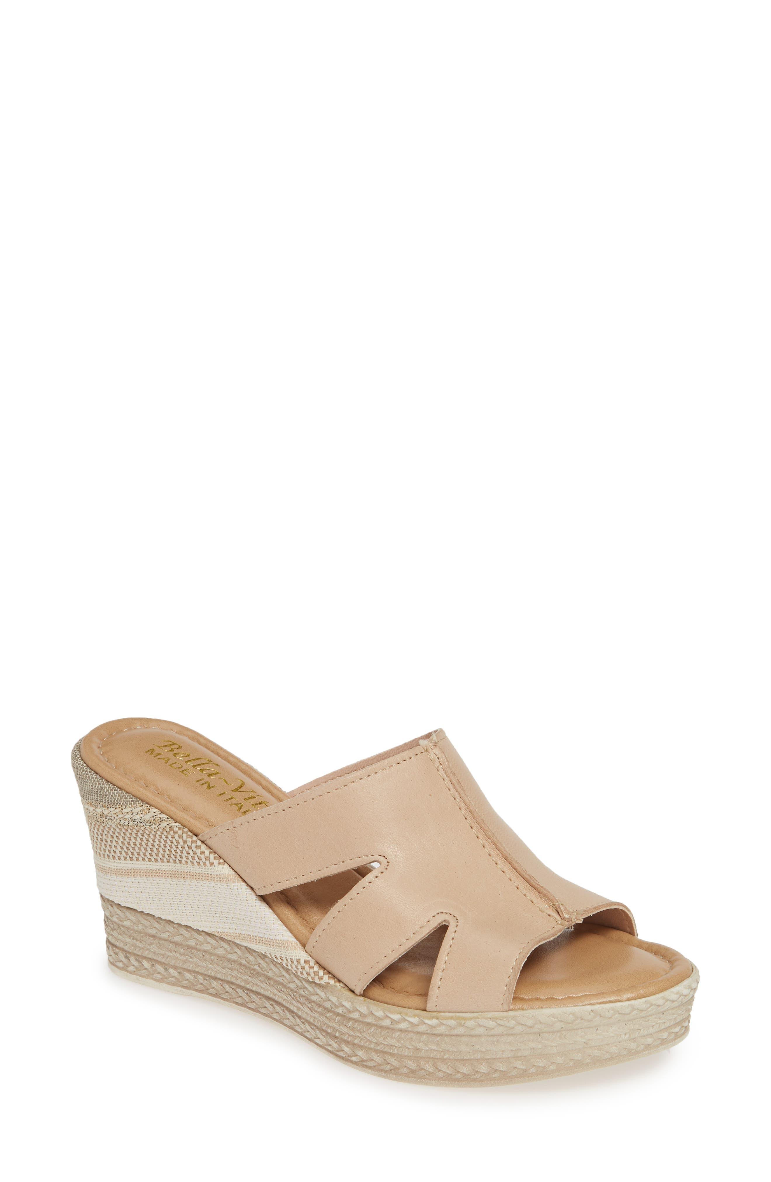 Bella Vita Rox Wedge Slide Sandal N - Pink