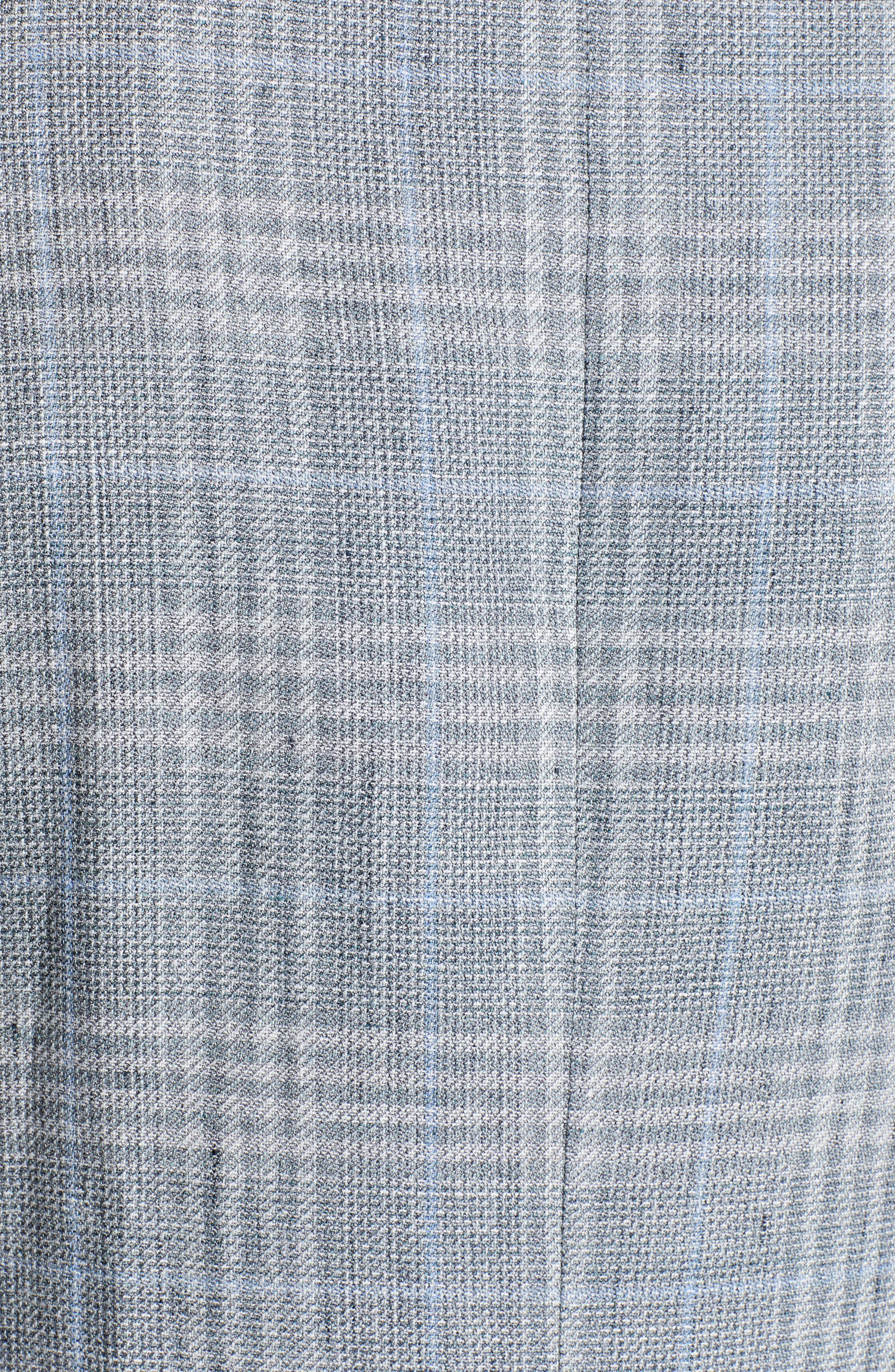 CANALI, Sienna Classic Fit Plaid Linen & Wool Sport Coat, Alternate thumbnail 6, color, LIGHT GREEN