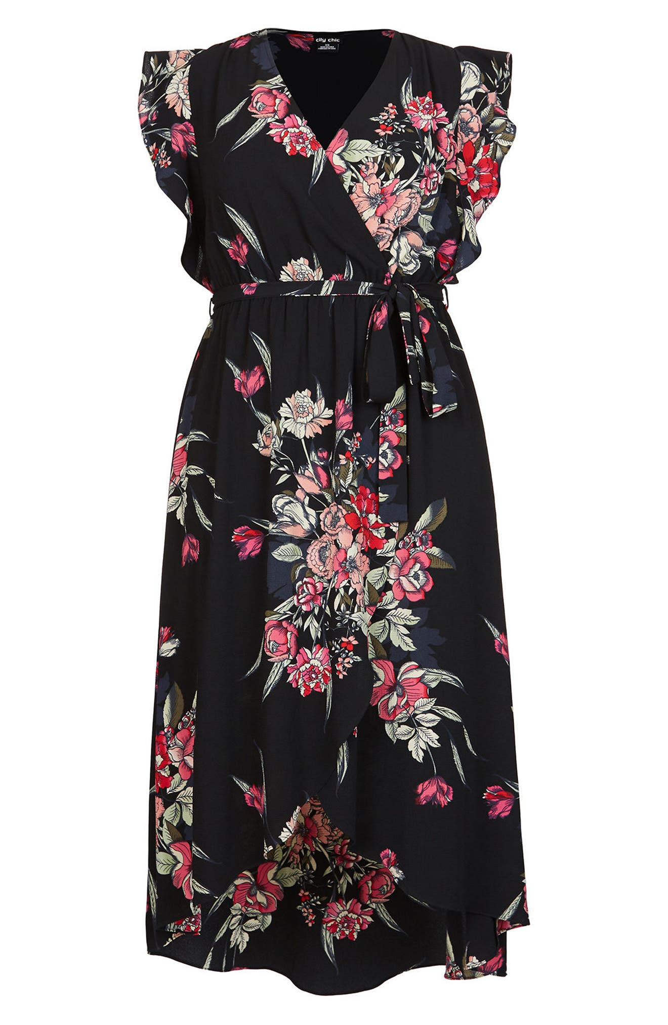 CITY CHIC, Misty Floral Wrap Maxi Dress, Alternate thumbnail 2, color, MISTY FLORAL