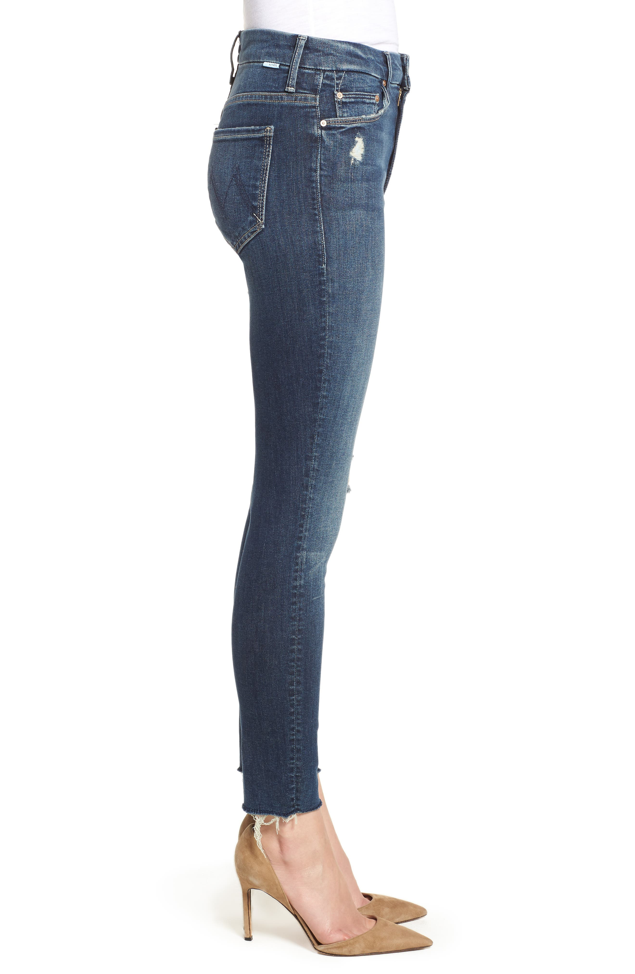 MOTHER, The Looker High Waist Frayed Ankle Skinny Jeans, Alternate thumbnail 4, color, CLOSE TO THE EDGE