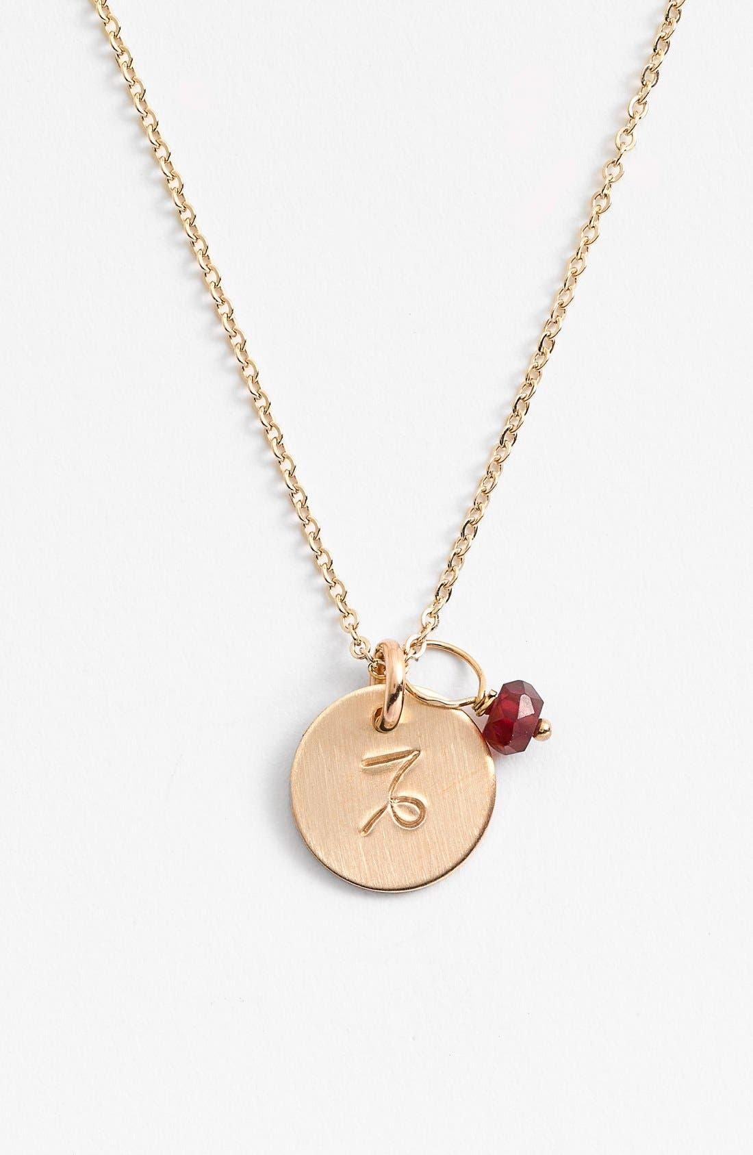 NASHELLE, 14k-Gold Fill & Semiprecious Birthstone Zodiac Mini Disc Necklace, Main thumbnail 1, color, CAPRICORN