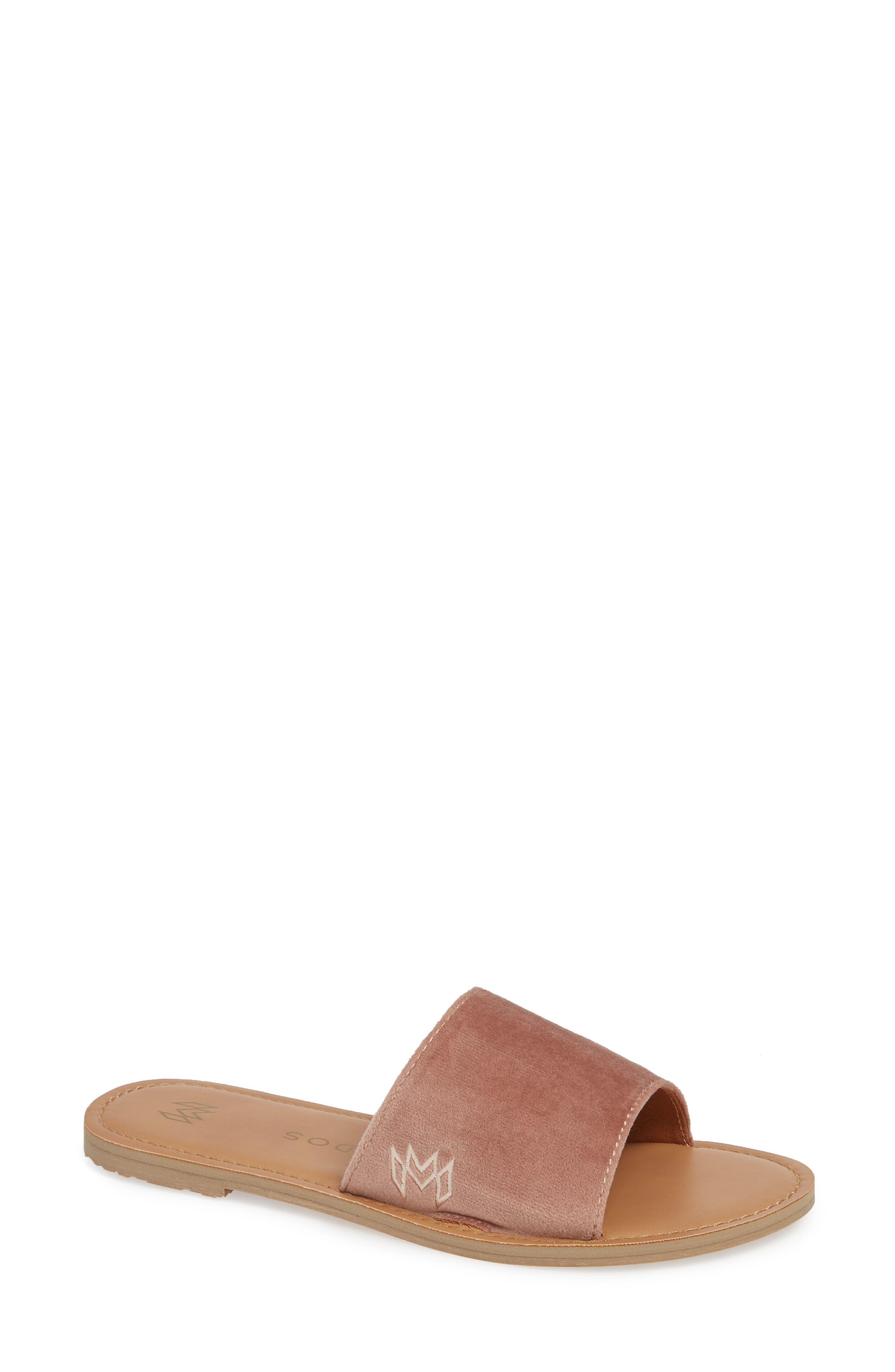 MALVADOS Icon Taylor Plush Slide Sandal, Main, color, COGNAC