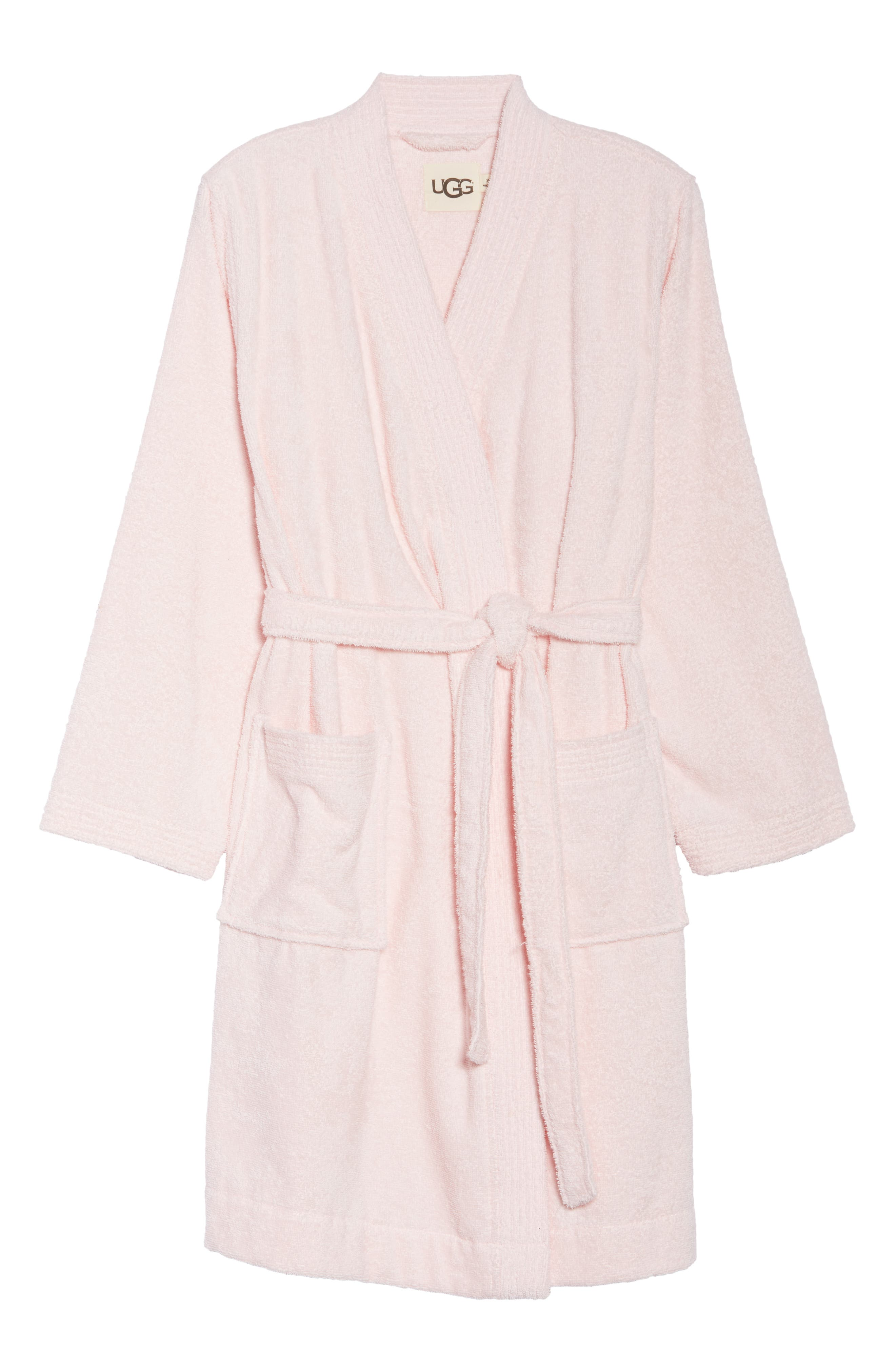 UGG<SUP>®</SUP>, Lorie Terry Short Robe, Alternate thumbnail 6, color, SEASHELL PINK