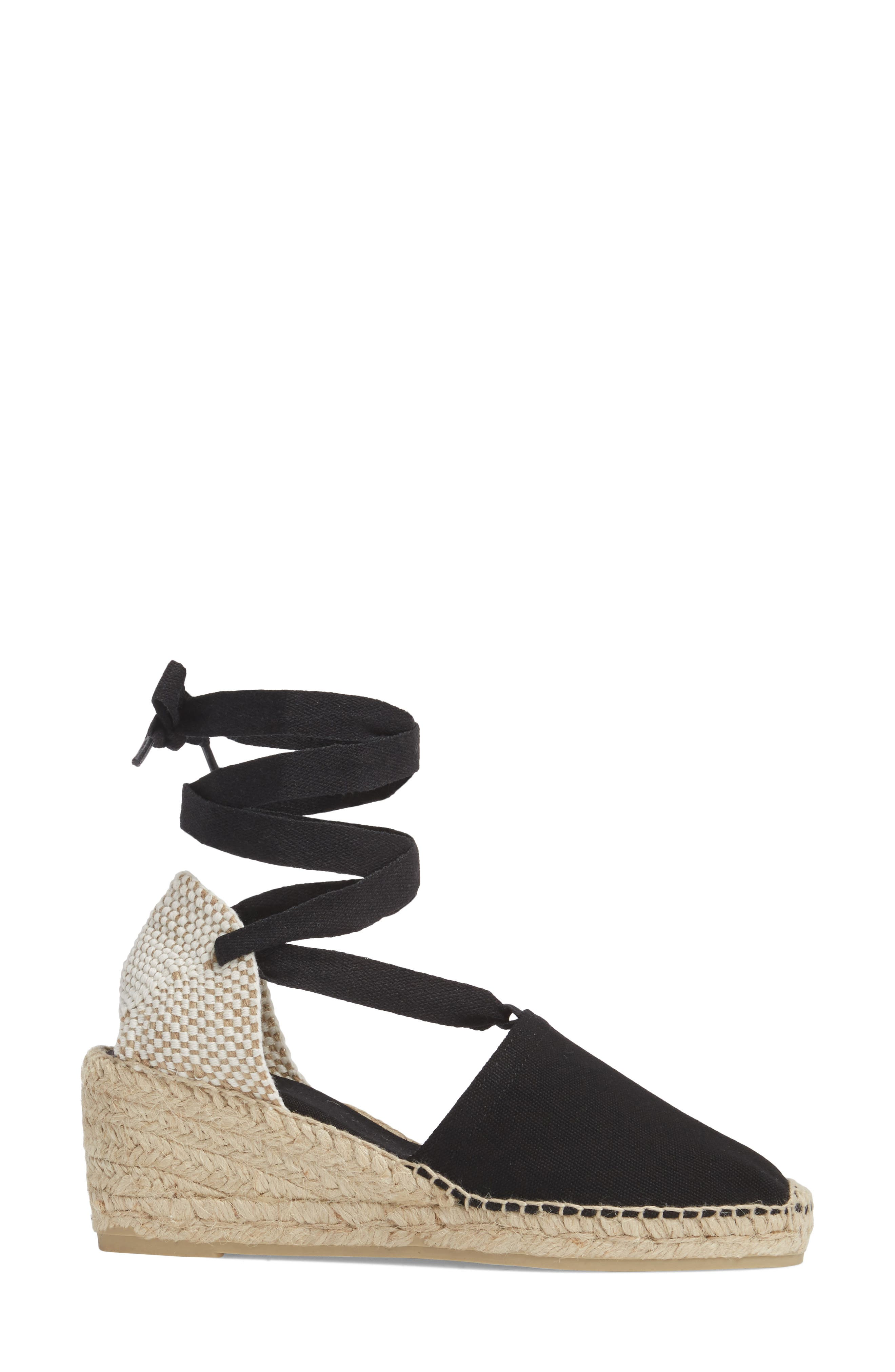 TONI PONS, Valencia Wraparound Espadrille Wedge, Alternate thumbnail 3, color, BLACK FABRIC