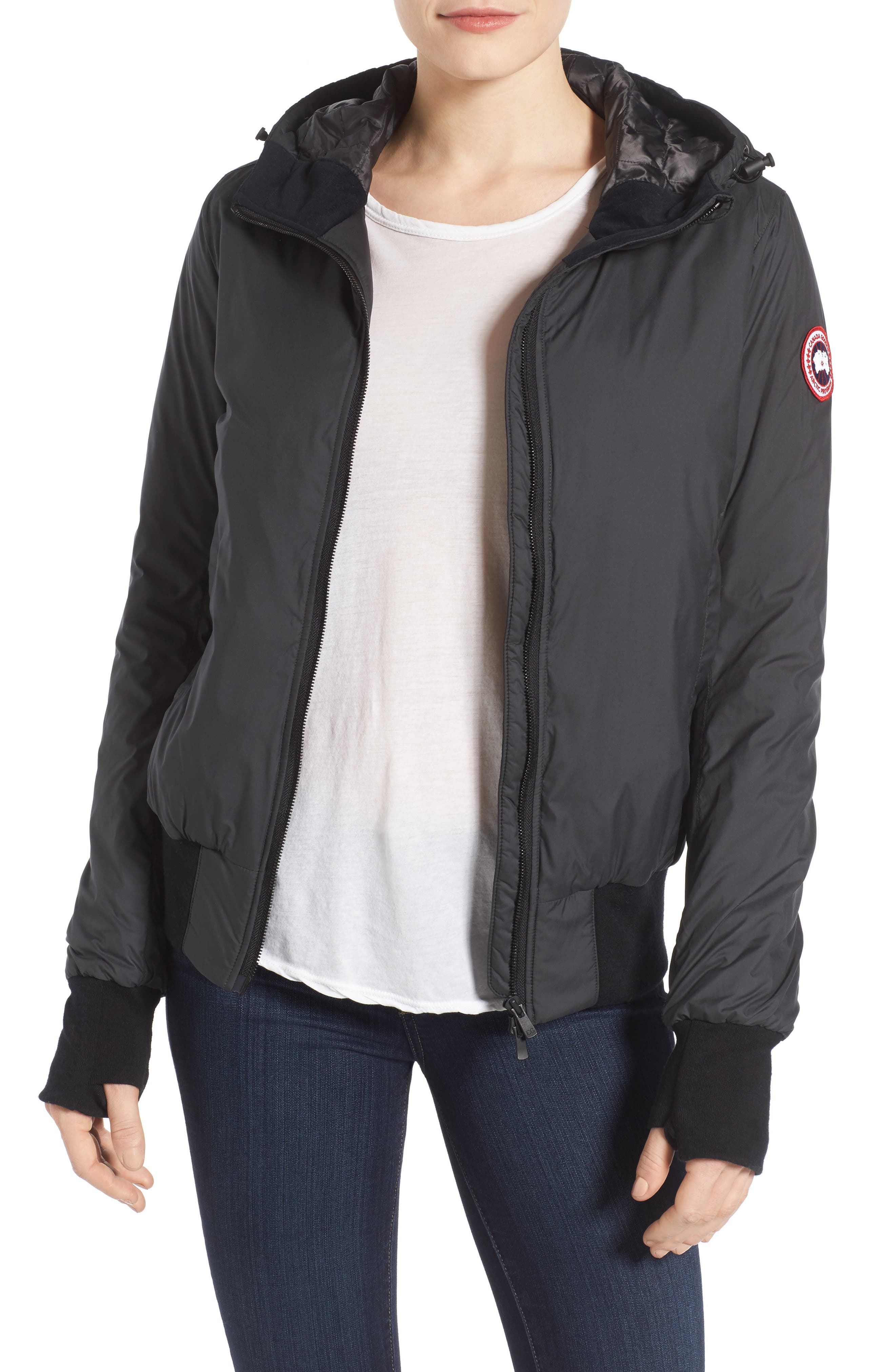 CANADA GOOSE, Dore Goose Down Hooded Jacket, Main thumbnail 1, color, BLACK