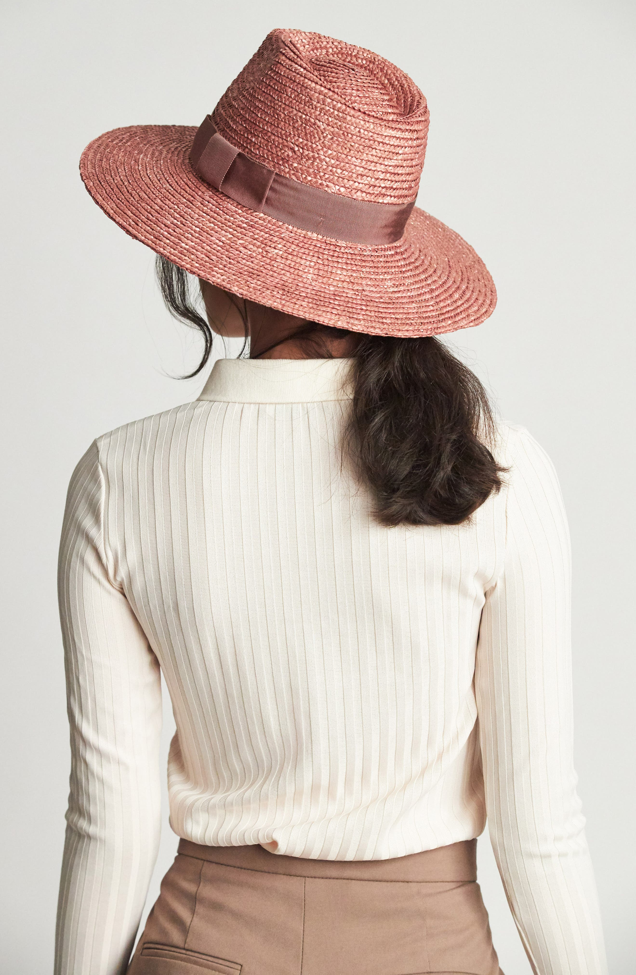 BRIXTON, 'Joanna' Straw Hat, Alternate thumbnail 4, color, LILAC