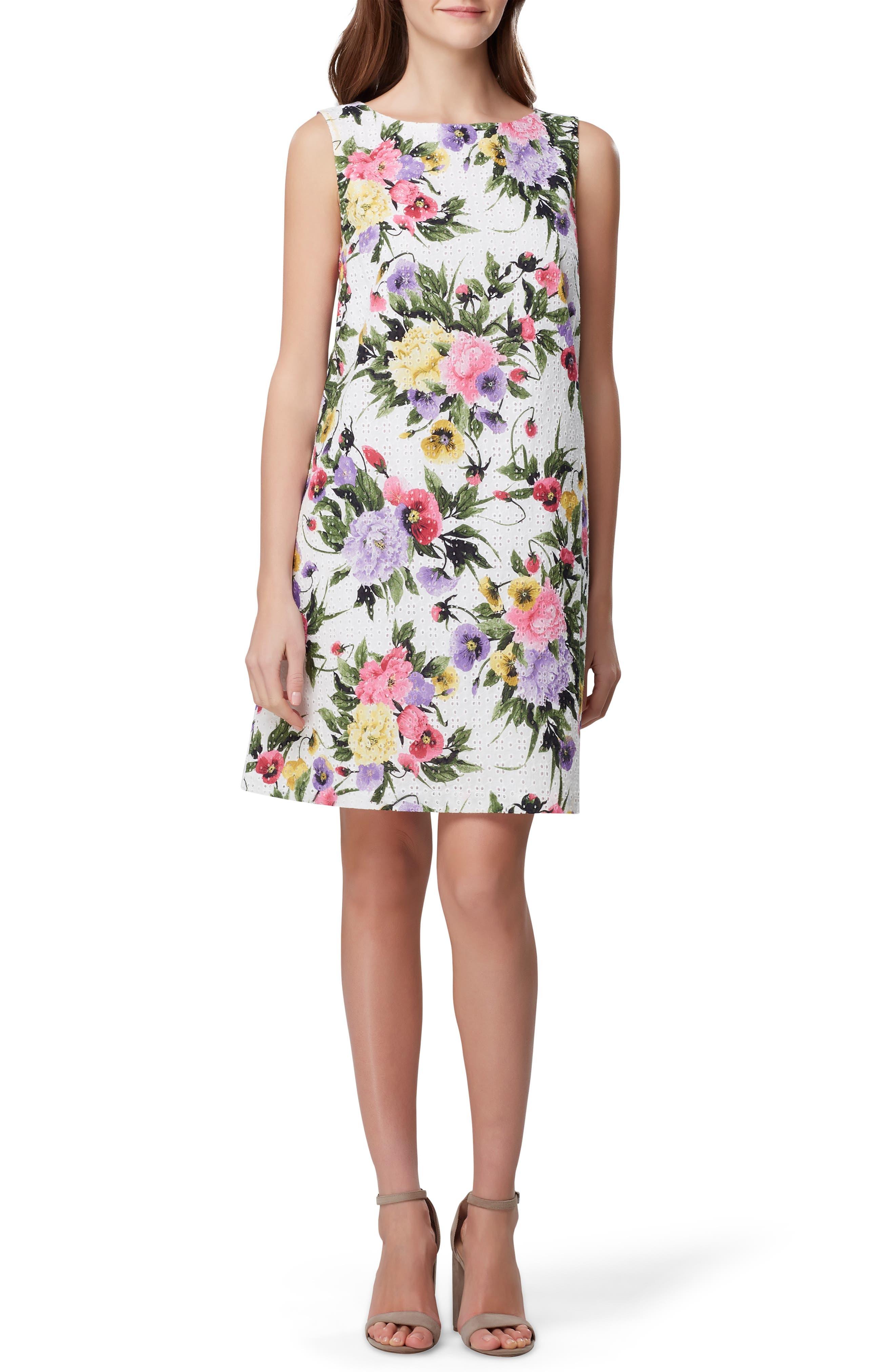 Tahari Floral Eyelet Shift Dress, White