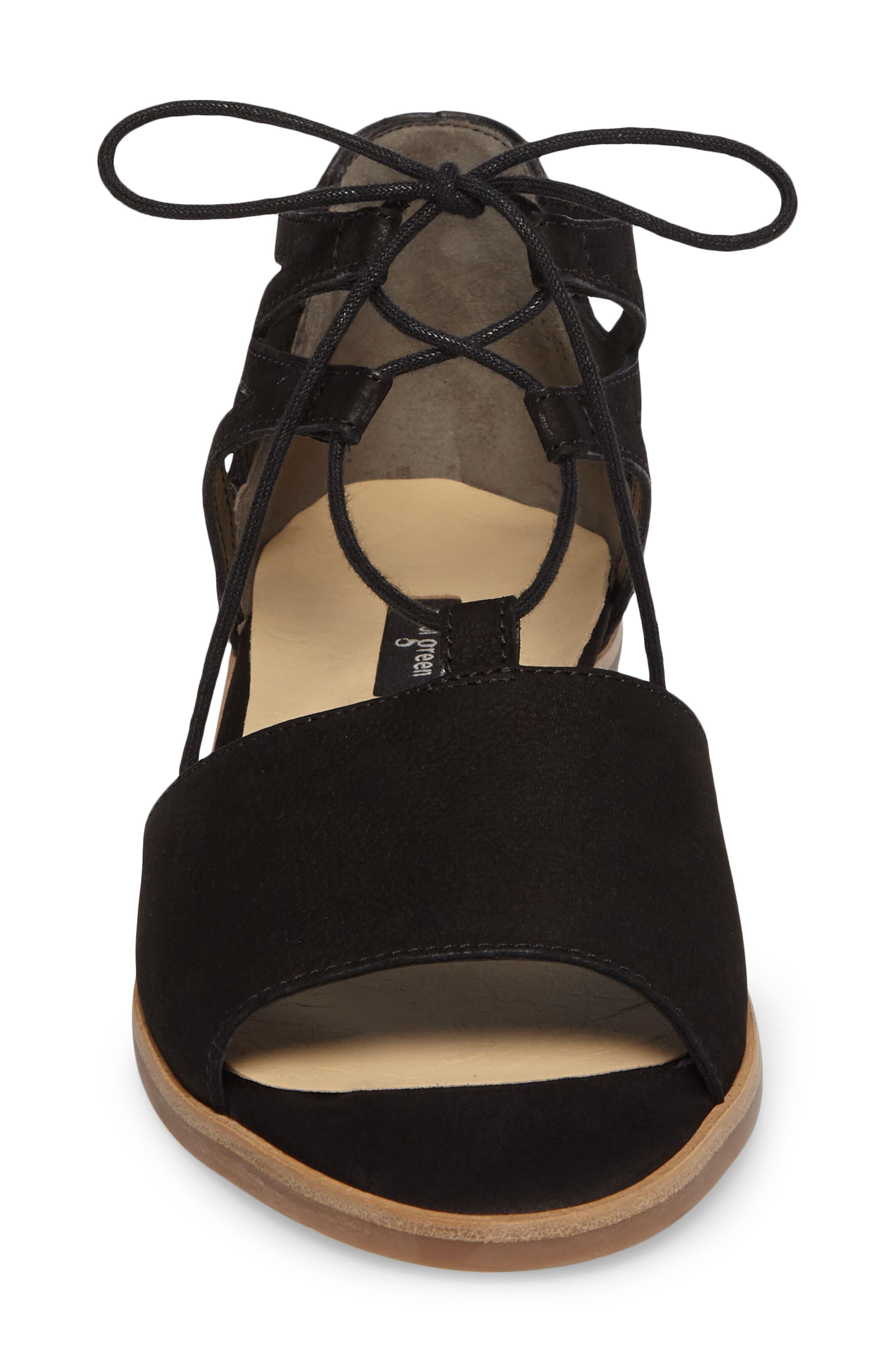 PAUL GREEN, Morea Lace-Up Sandal, Alternate thumbnail 4, color, BLACK LEATHER