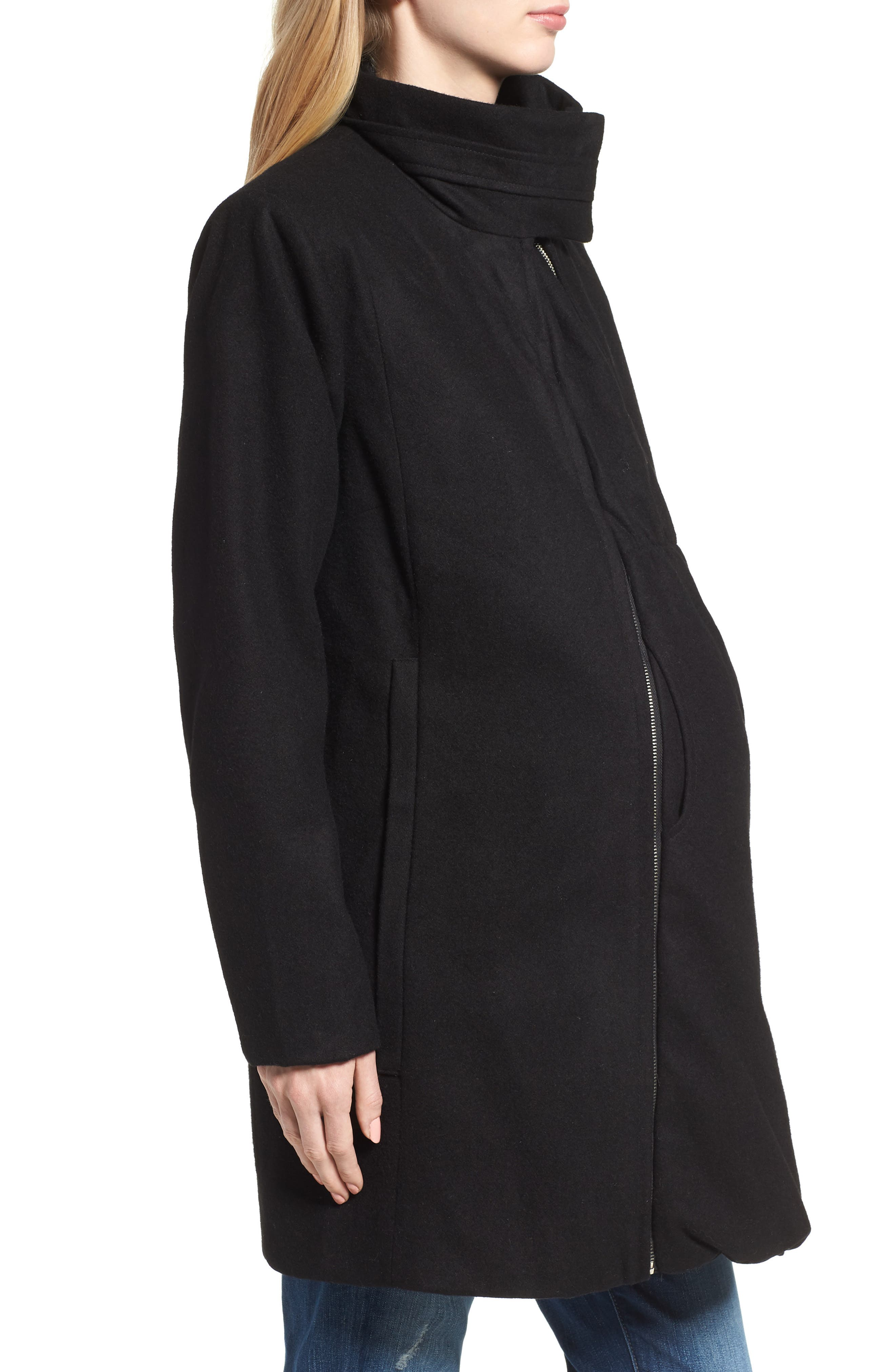 MODERN ETERNITY, Convertible 3-in-1 Maternity/Nursing Coat, Alternate thumbnail 4, color, BLACK