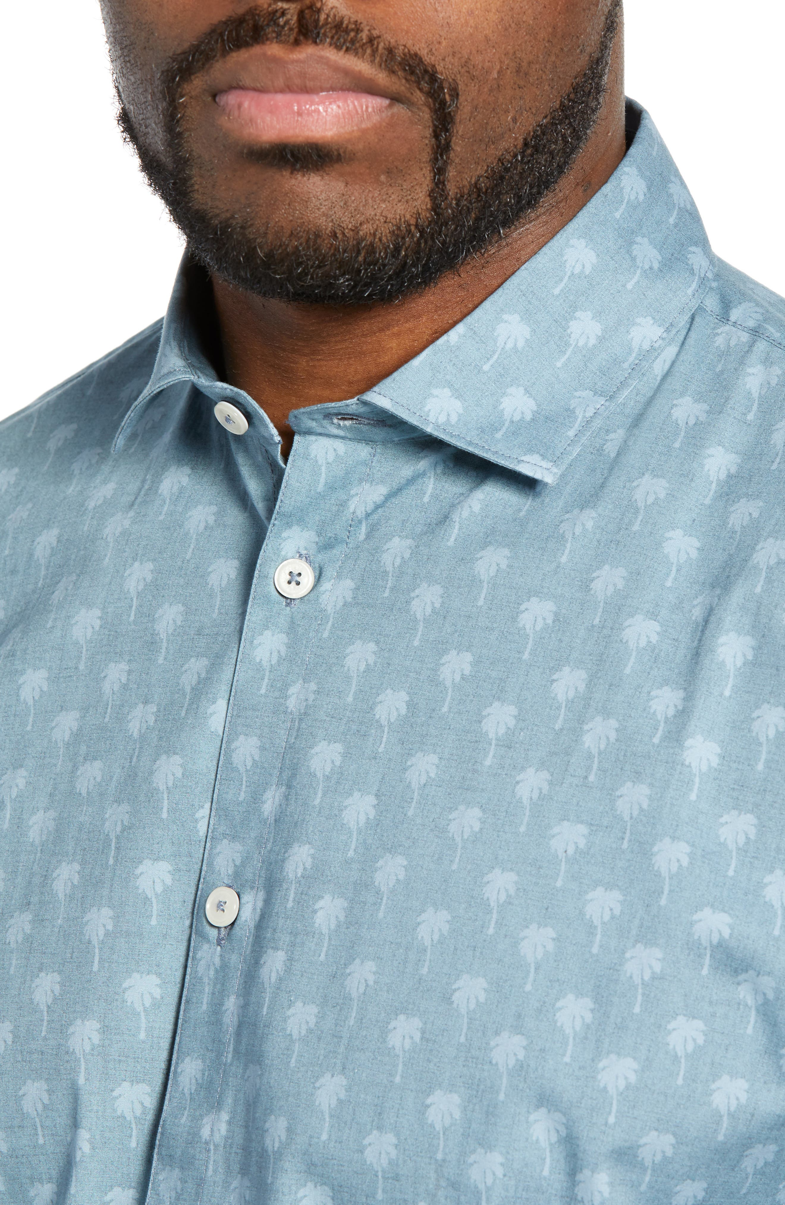 DEVEREUX, Cabana Regular Fit Sport Shirt, Alternate thumbnail 2, color, PALMS
