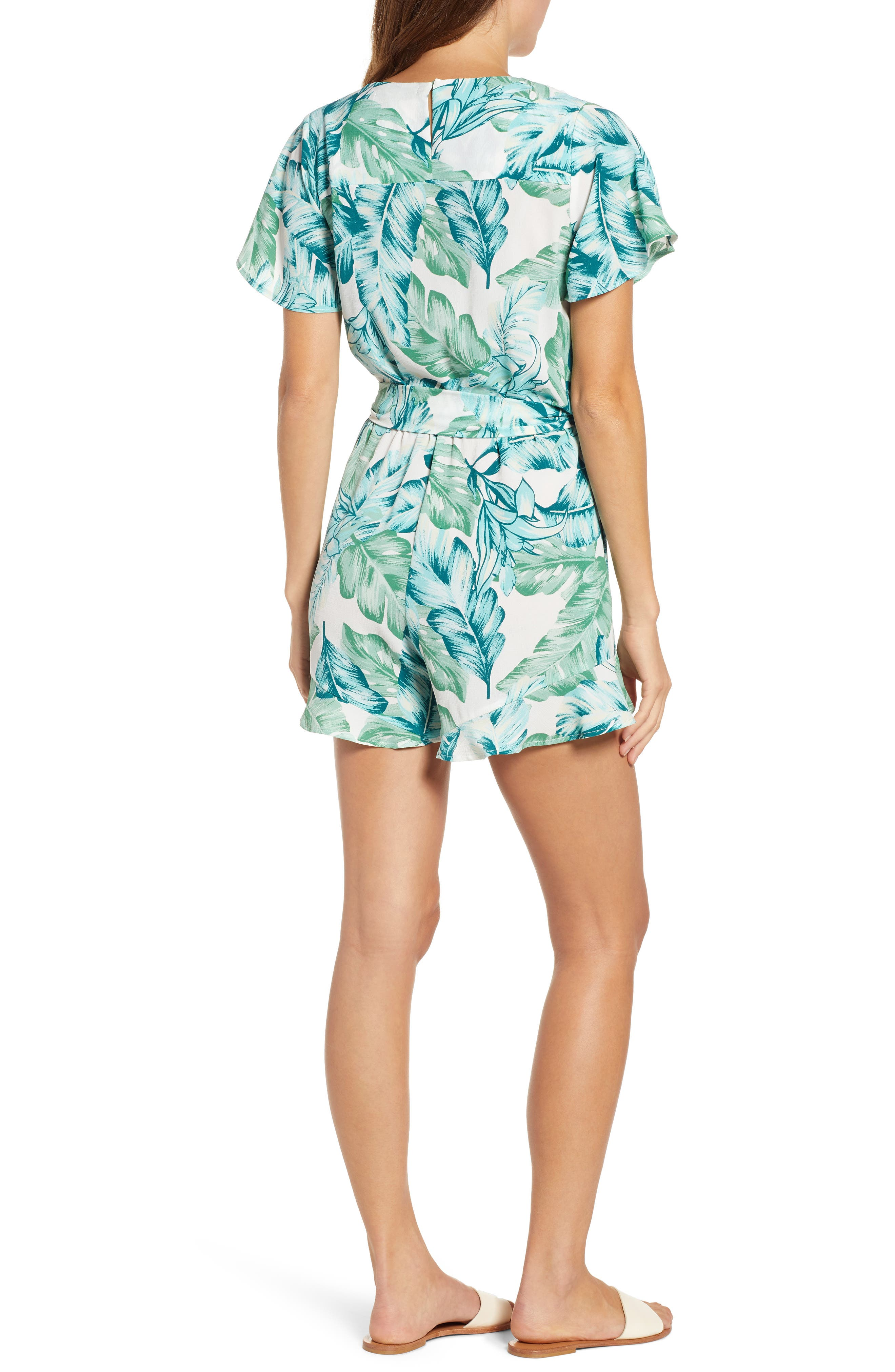 GIBSON, x Hi Sugarplum! Catalina Ruffle Hem Romper, Alternate thumbnail 2, color, PALM