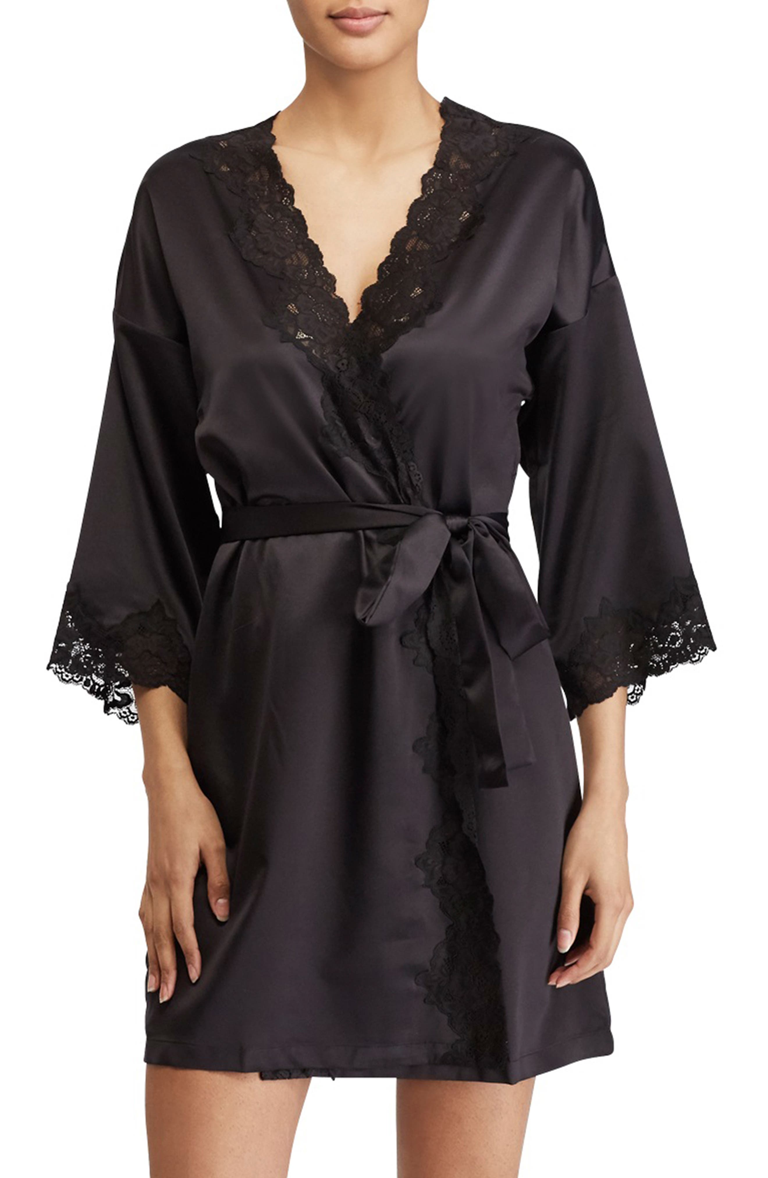 LAUREN RALPH LAUREN, Lace Trim Satin Robe, Main thumbnail 1, color, BLACK