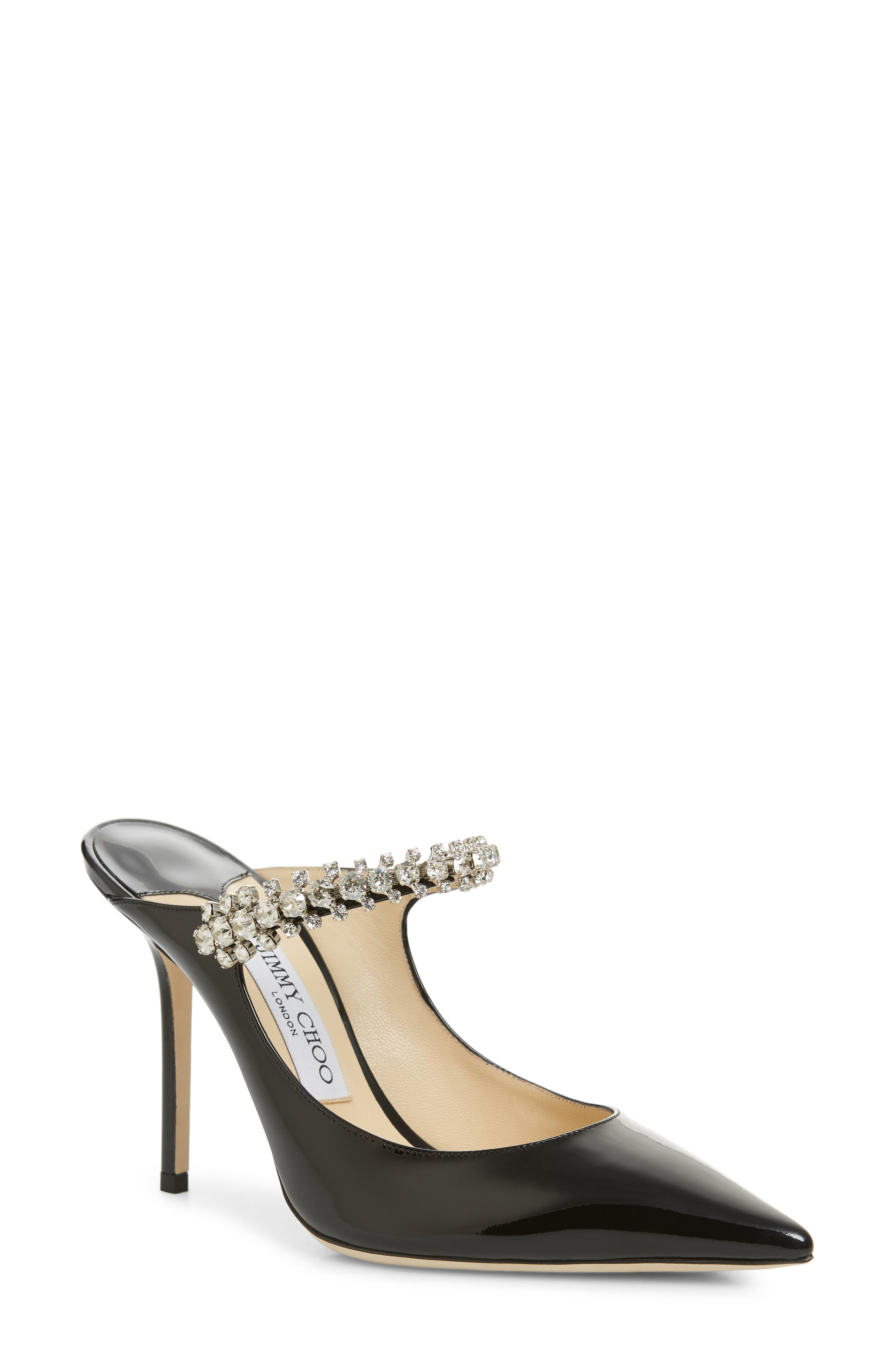 JIMMY CHOO, Embellished Mule, Main thumbnail 1, color, BLACK