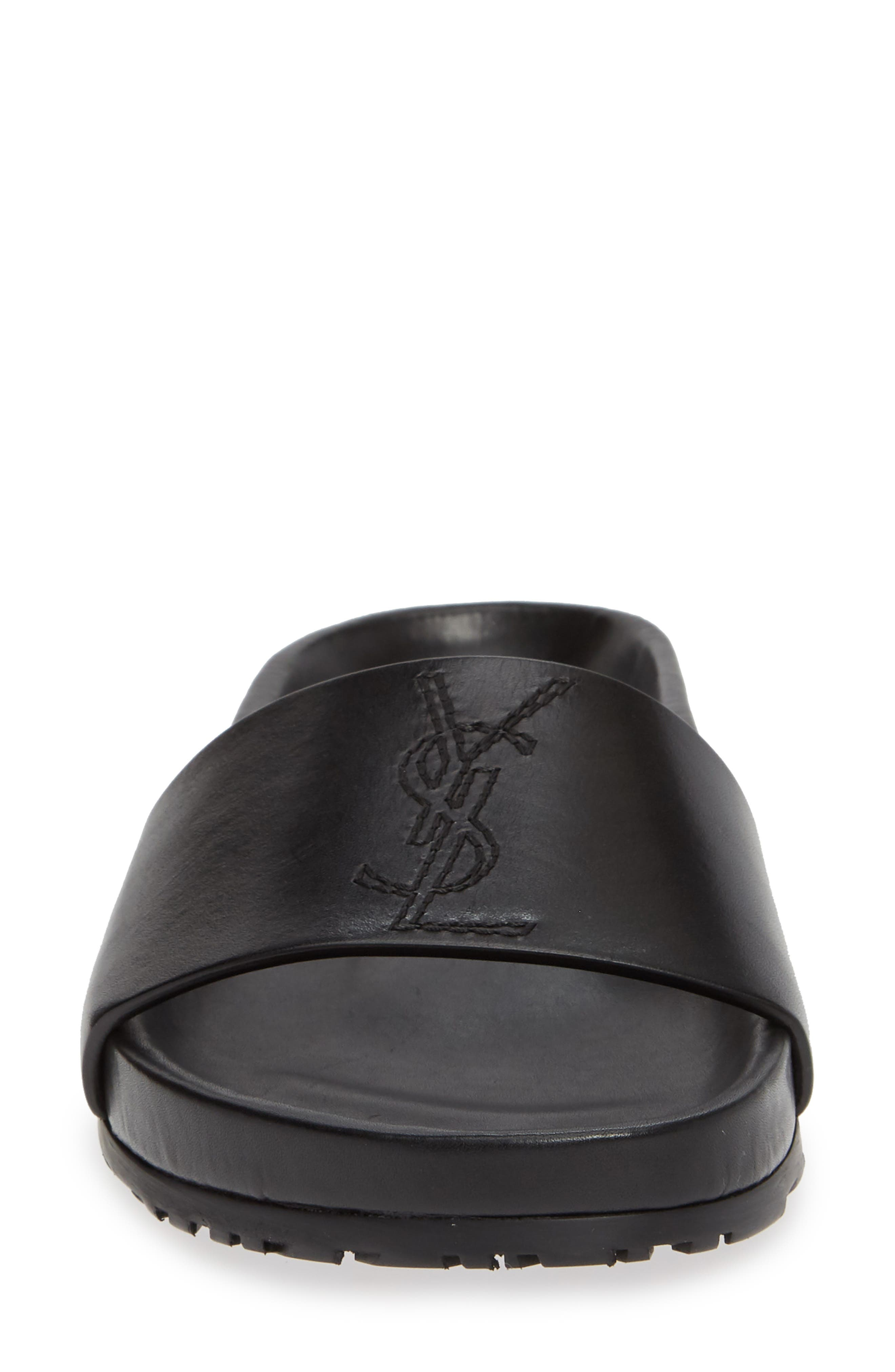 SAINT LAURENT, Jimmy Logo Slide Sandal, Alternate thumbnail 4, color, BLACK LEATHER