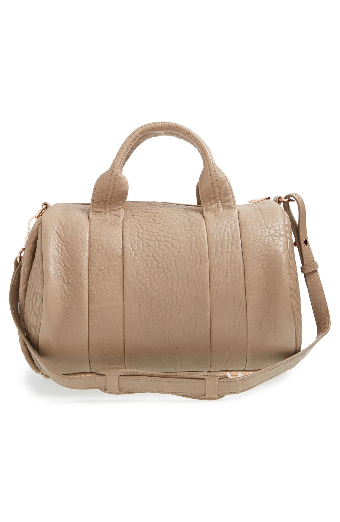 ALEXANDER WANG, 'Rocco - Rose Gold' Leather Satchel, Alternate thumbnail 6, color, 250