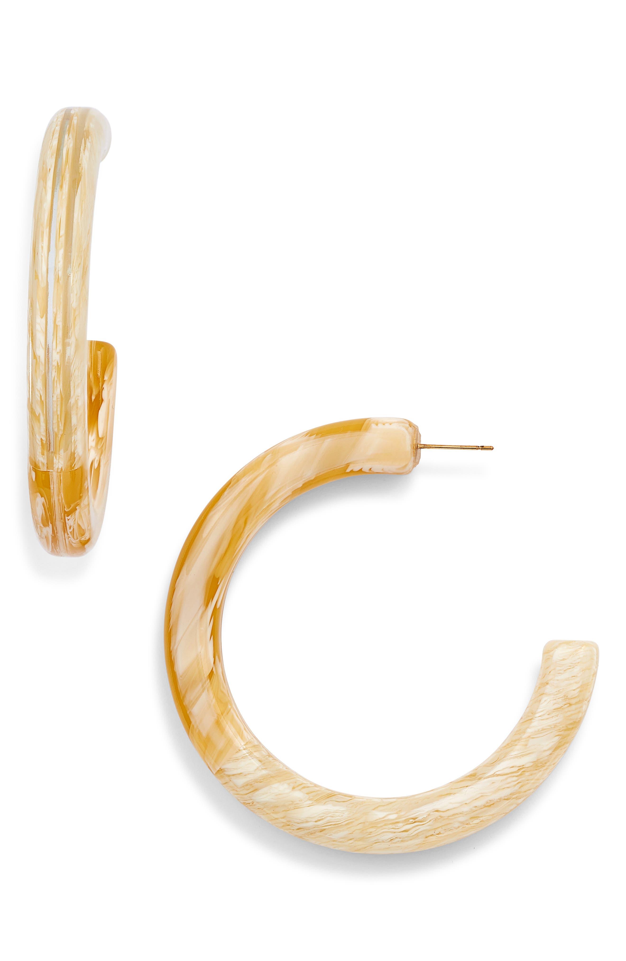 LELE SADOUGHI, Medium Broadway Hoop Earrings, Main thumbnail 1, color, SHELL
