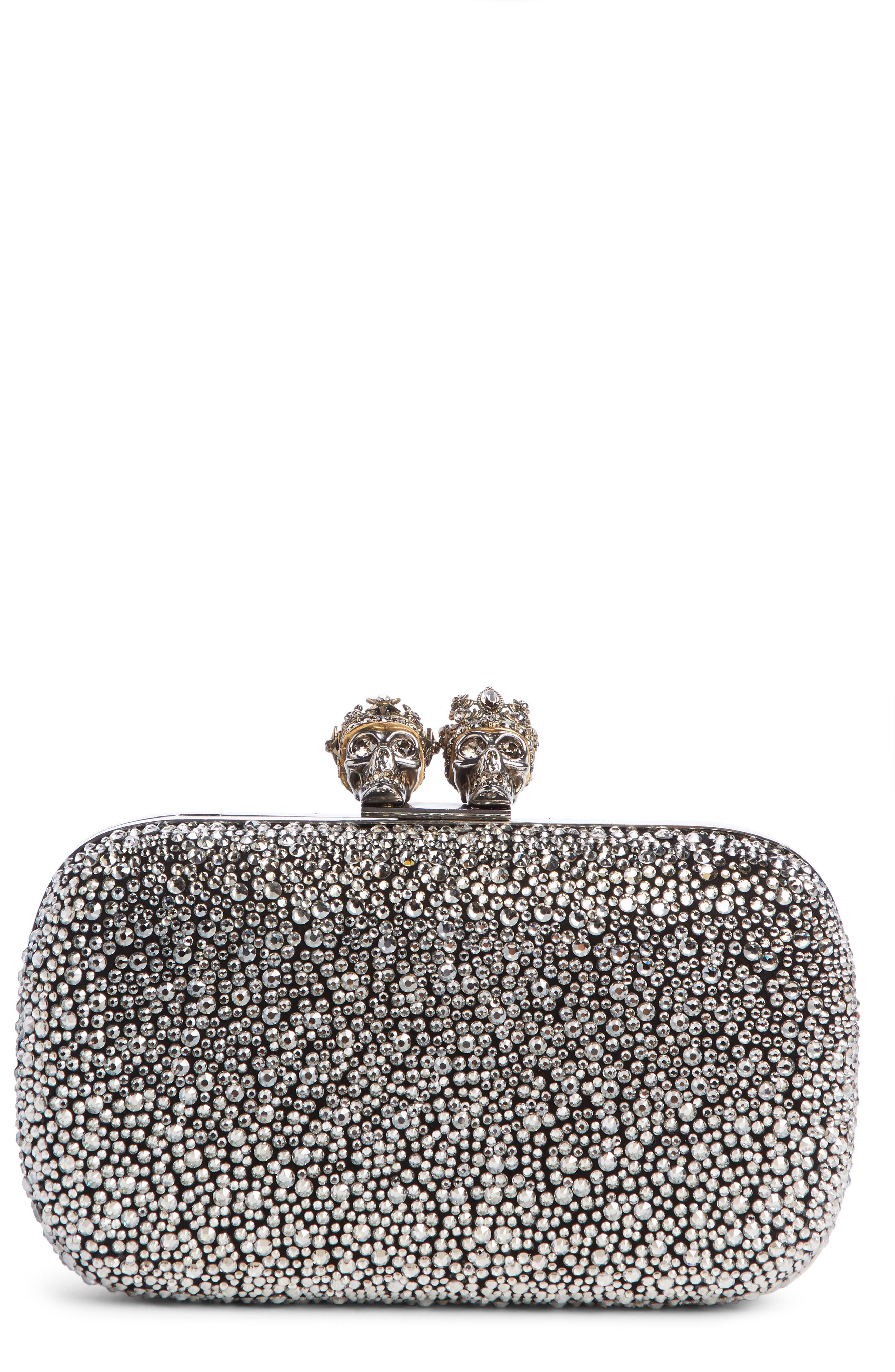 ALEXANDER MCQUEEN Crystal Embellished Queen & King Clutch, Main, color, BLACK