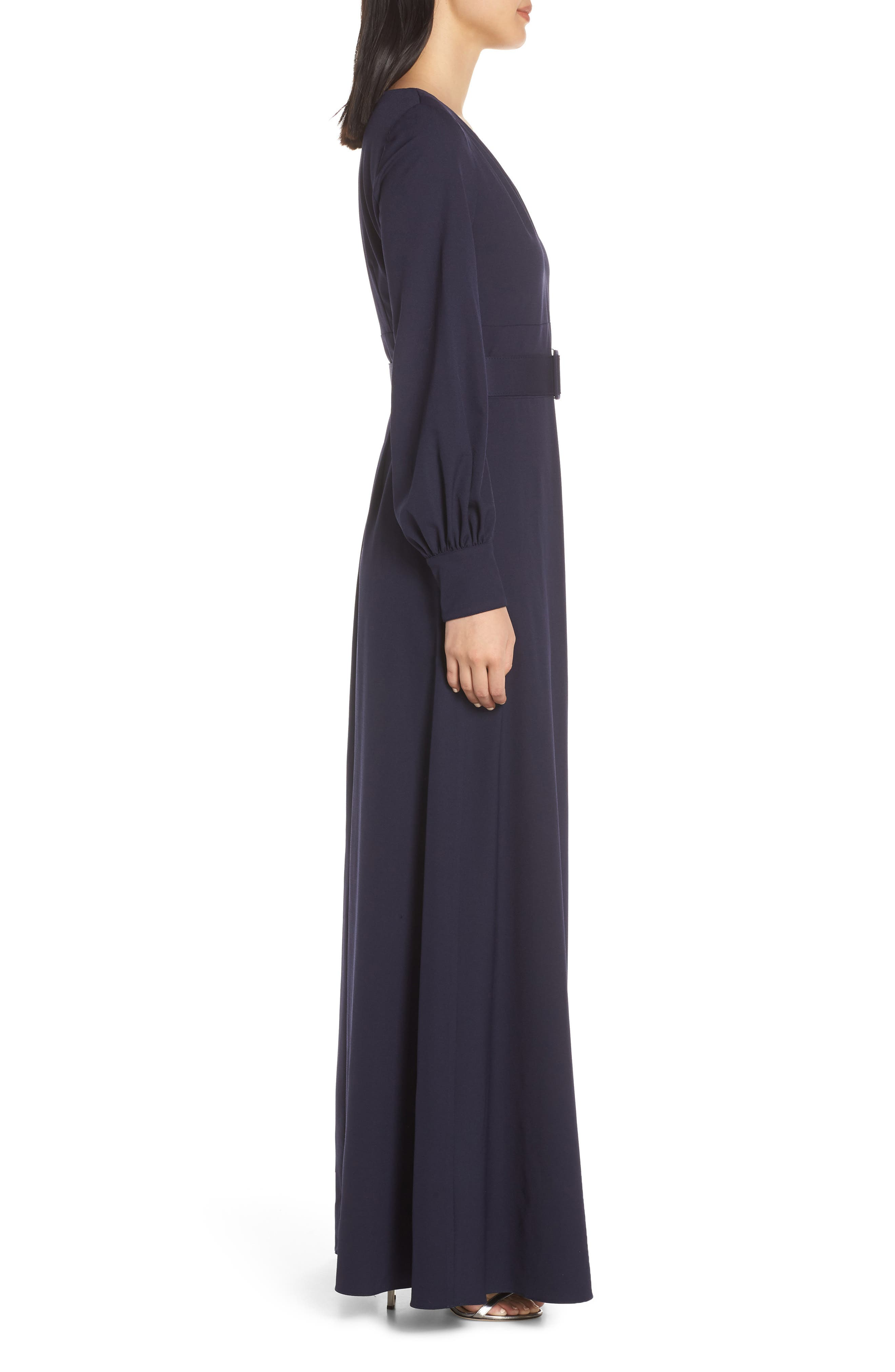 ELIZA J, Long Sleeve Belted Gown, Alternate thumbnail 4, color, NAVY