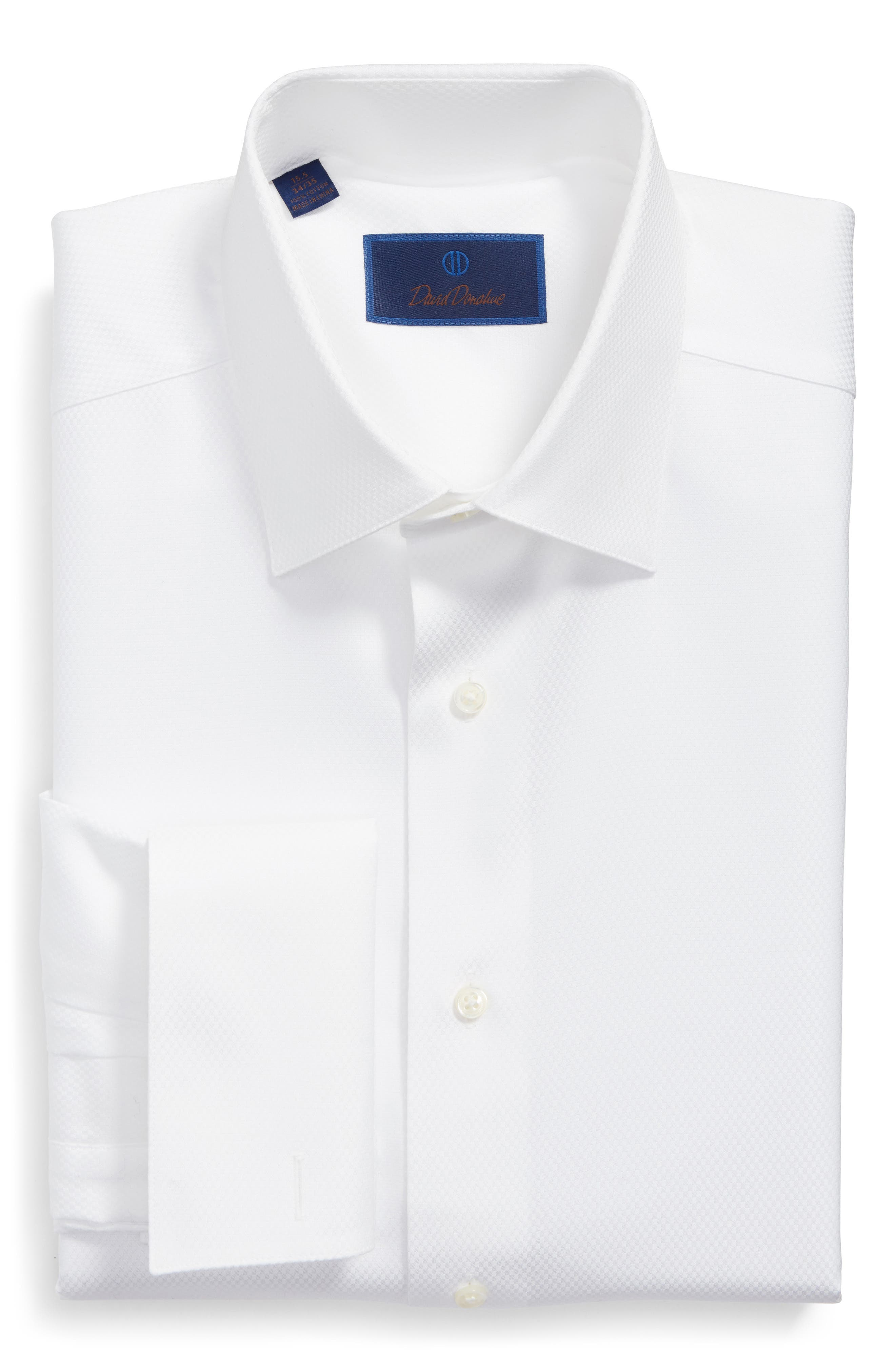 DAVID DONAHUE, Regular Fit Solid French Cuff Tuxedo Shirt, Alternate thumbnail 5, color, WHITE / WHITE