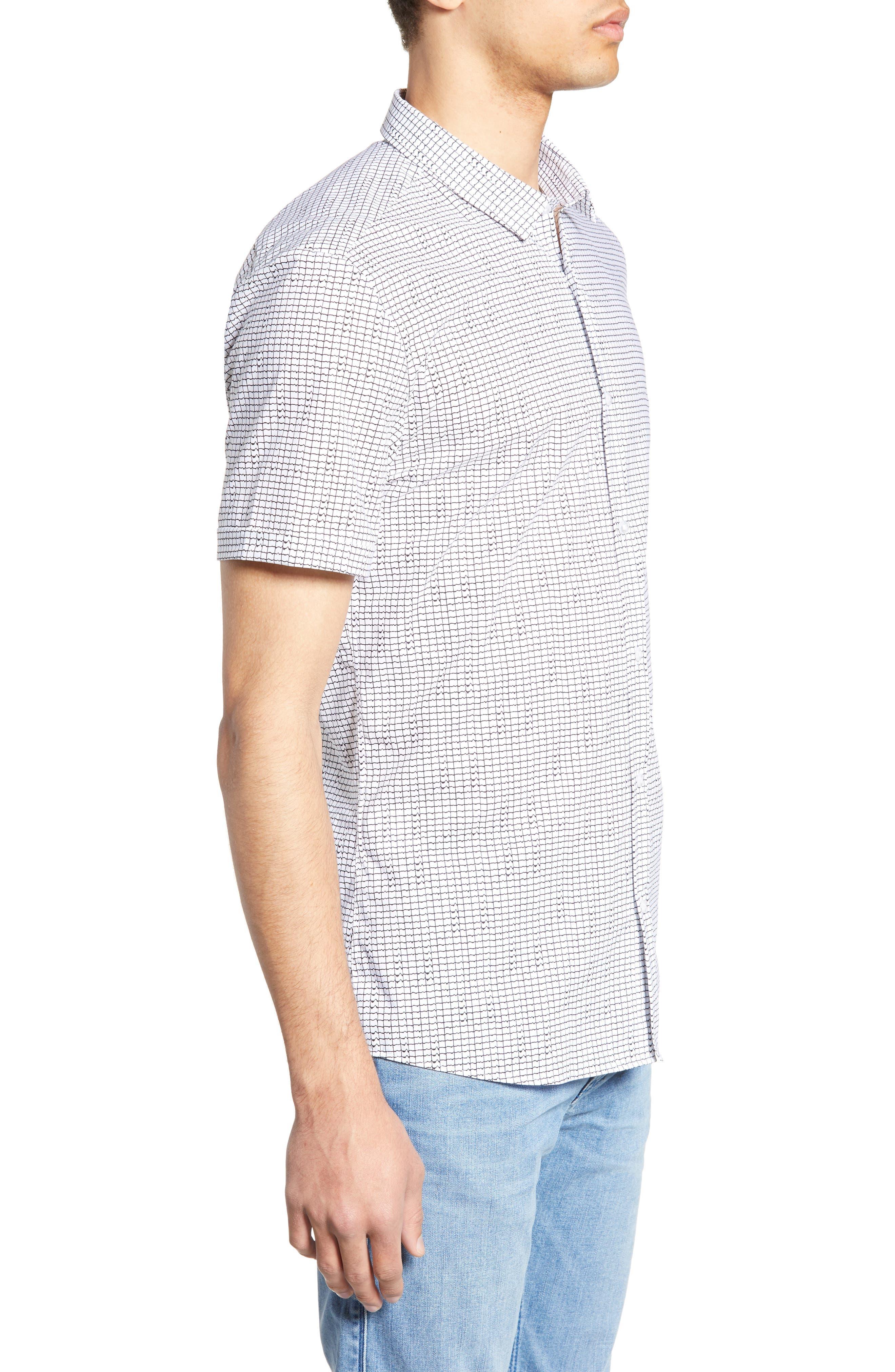 HUGO, Empson Slim Fit Print Sport Shirt, Alternate thumbnail 4, color, WHITE