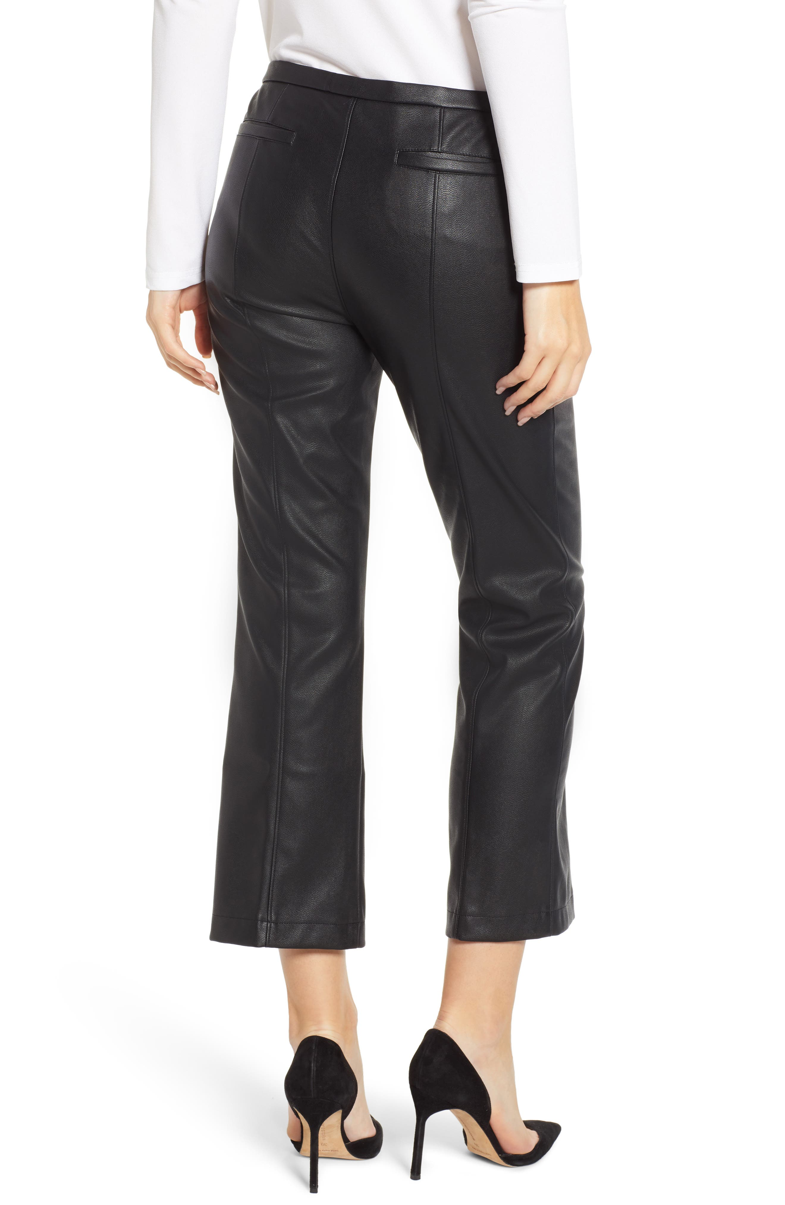DAVID LERNER, Pintuck Flare Faux Leather Trousers, Alternate thumbnail 2, color, 001