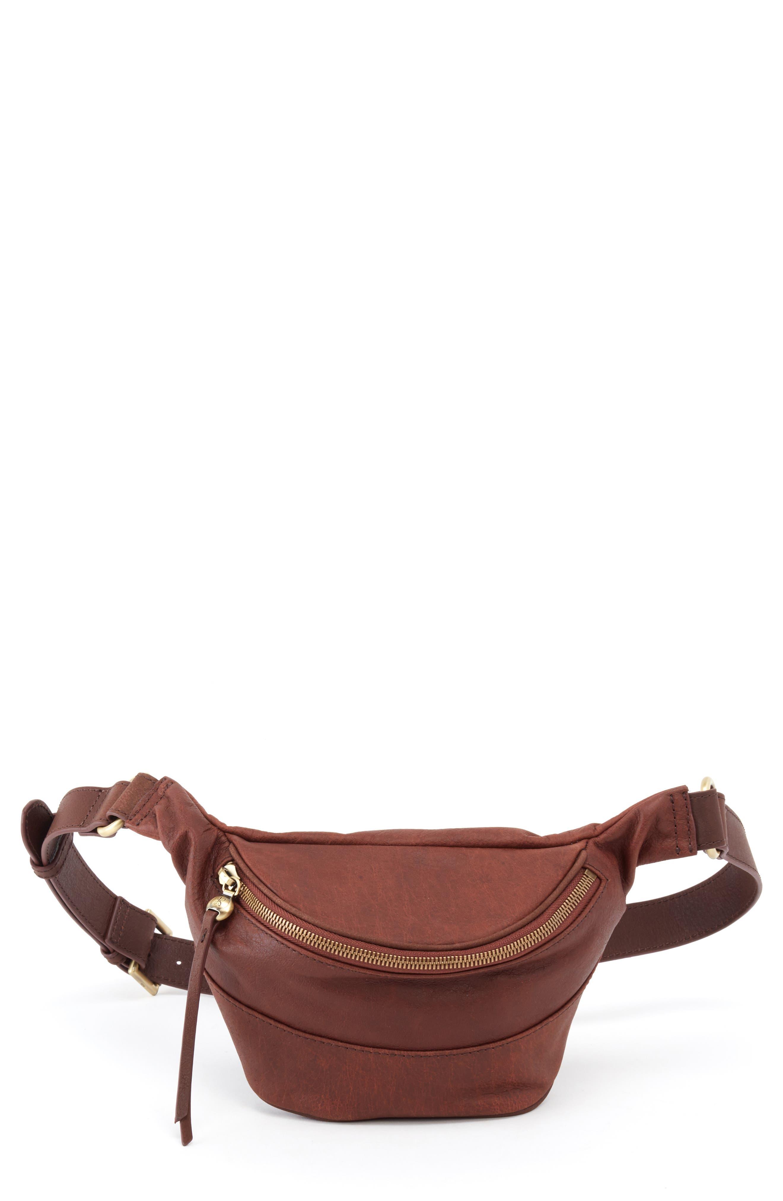 HOBO Jett Leather Belt Bag, Main, color, CHESTNUT