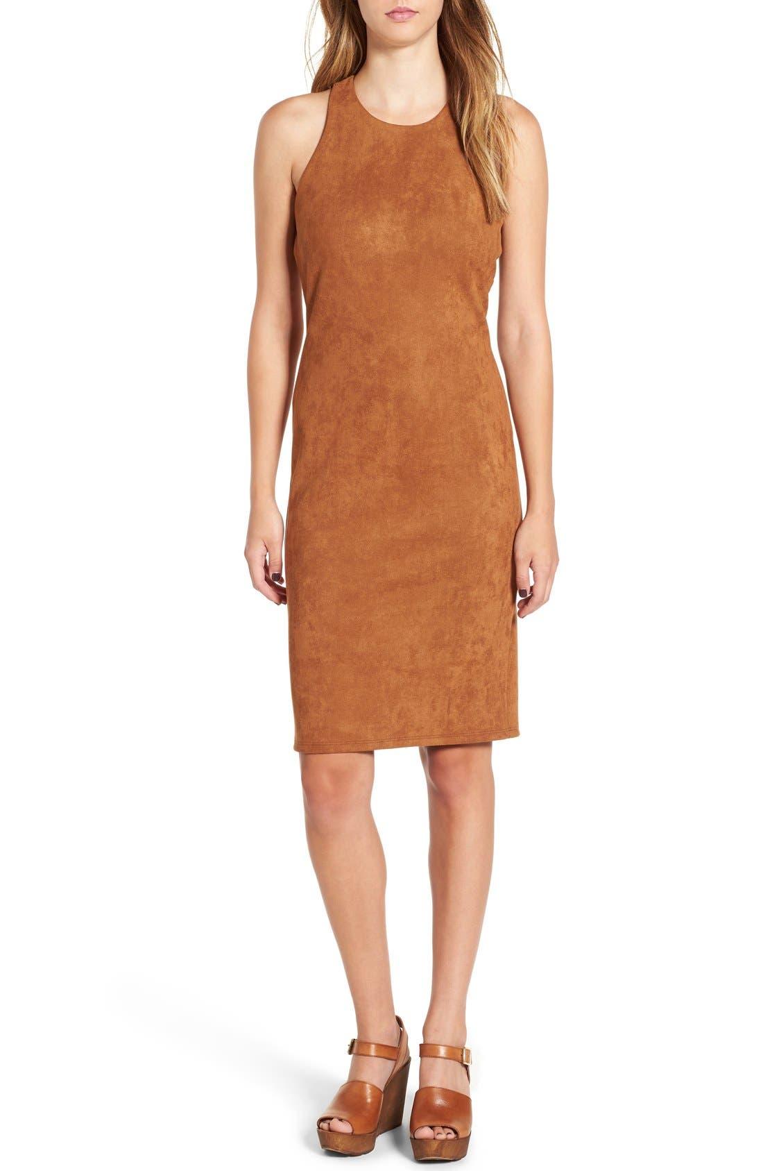 JUNE & HUDSON, Faux Suede Midi Dress, Main thumbnail 1, color, 200