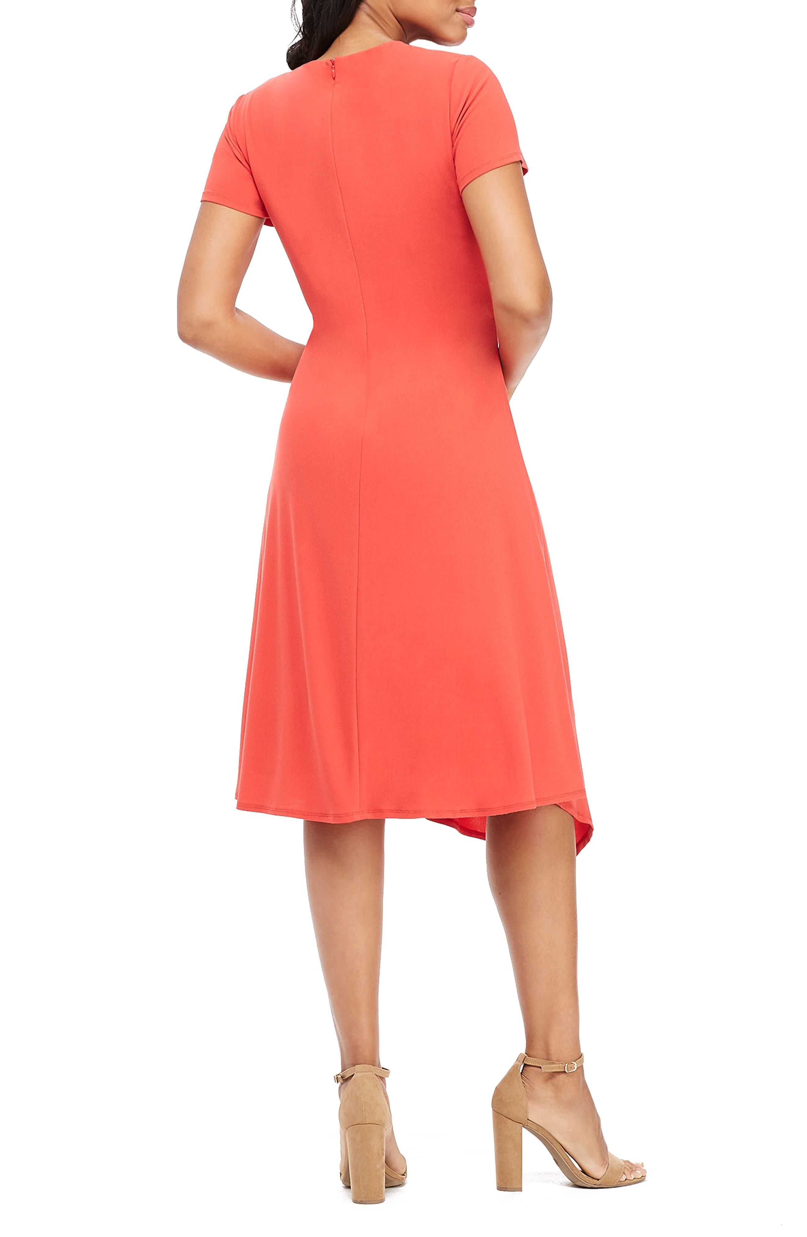 MAGGY LONDON, Draped Asymmetrical Dress, Alternate thumbnail 2, color, FIESTA RED