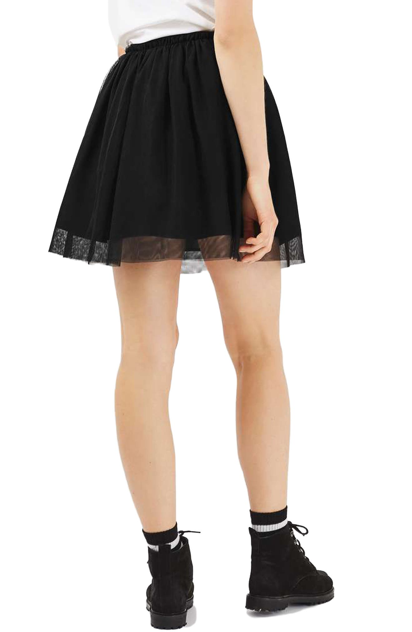 TOPSHOP, Tulle Miniskirt, Alternate thumbnail 2, color, 001